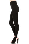 Opposite side image of fashion model with one leg forward showing a Black Banded High Waisted Fleece Lined Legging with a ribbed high waisted fabric waist band and warm, tight fit and comfortable full length fit of the fleece fabric