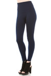 45 degree image of our Navy Banded High Waisted Fleece Lined Leggings showing the ribbed high waisted fabric waist band and full length Navy fleece legging