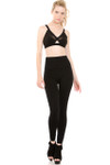 Front image of blond model wearing our Black Banded High Waisted Fleece Lined Legging showing the banded high waist finish just past the belly button and full length softness and smooth black fleece fabric.