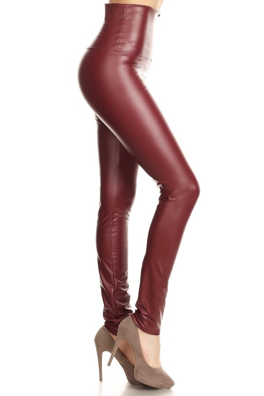 81a4ad1f64605 Premium High Waisted Matte Faux Leather Leggings. Previous Next. 1