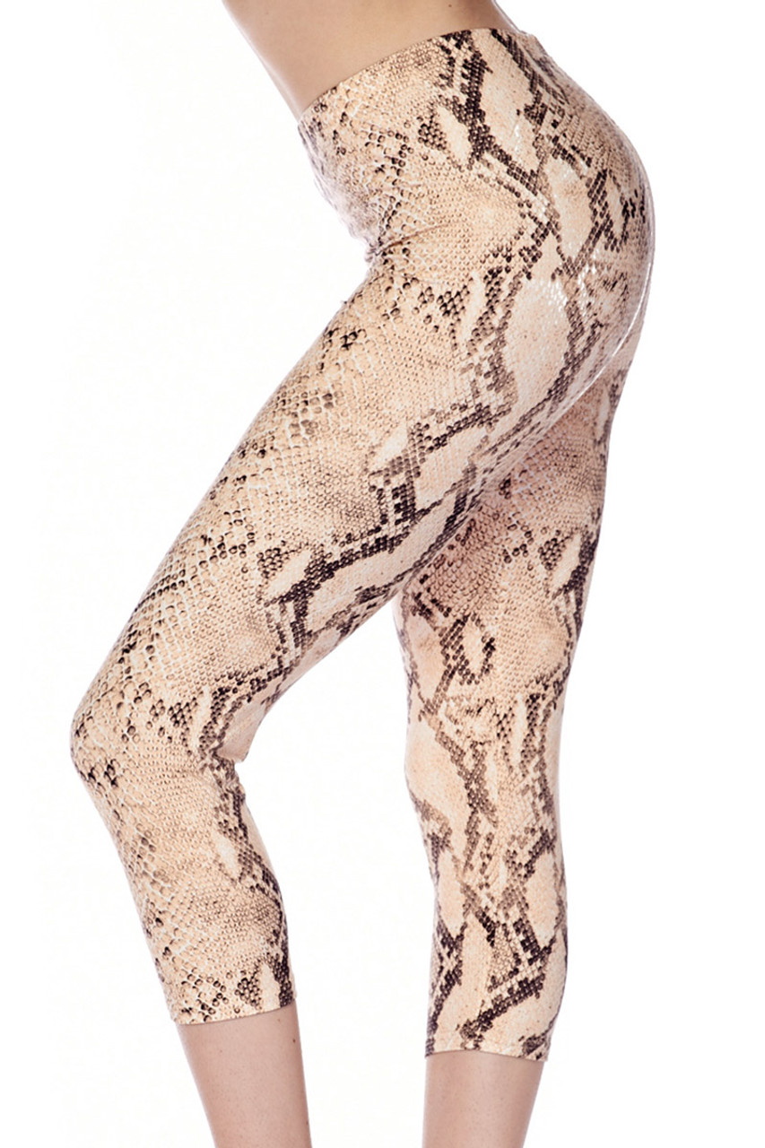 3421e158613325 Brushed Cream Snakeskin Plus Size Capris. Previous Next. 1
