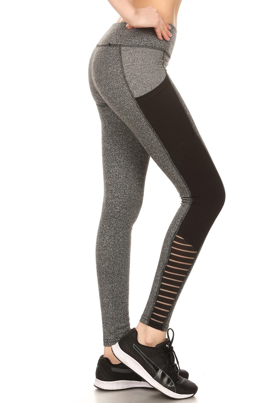 uk cheap sale wide range modern and elegant in fashion Full Impact Women's Workout Leggings - 01 Heather Gray with Black