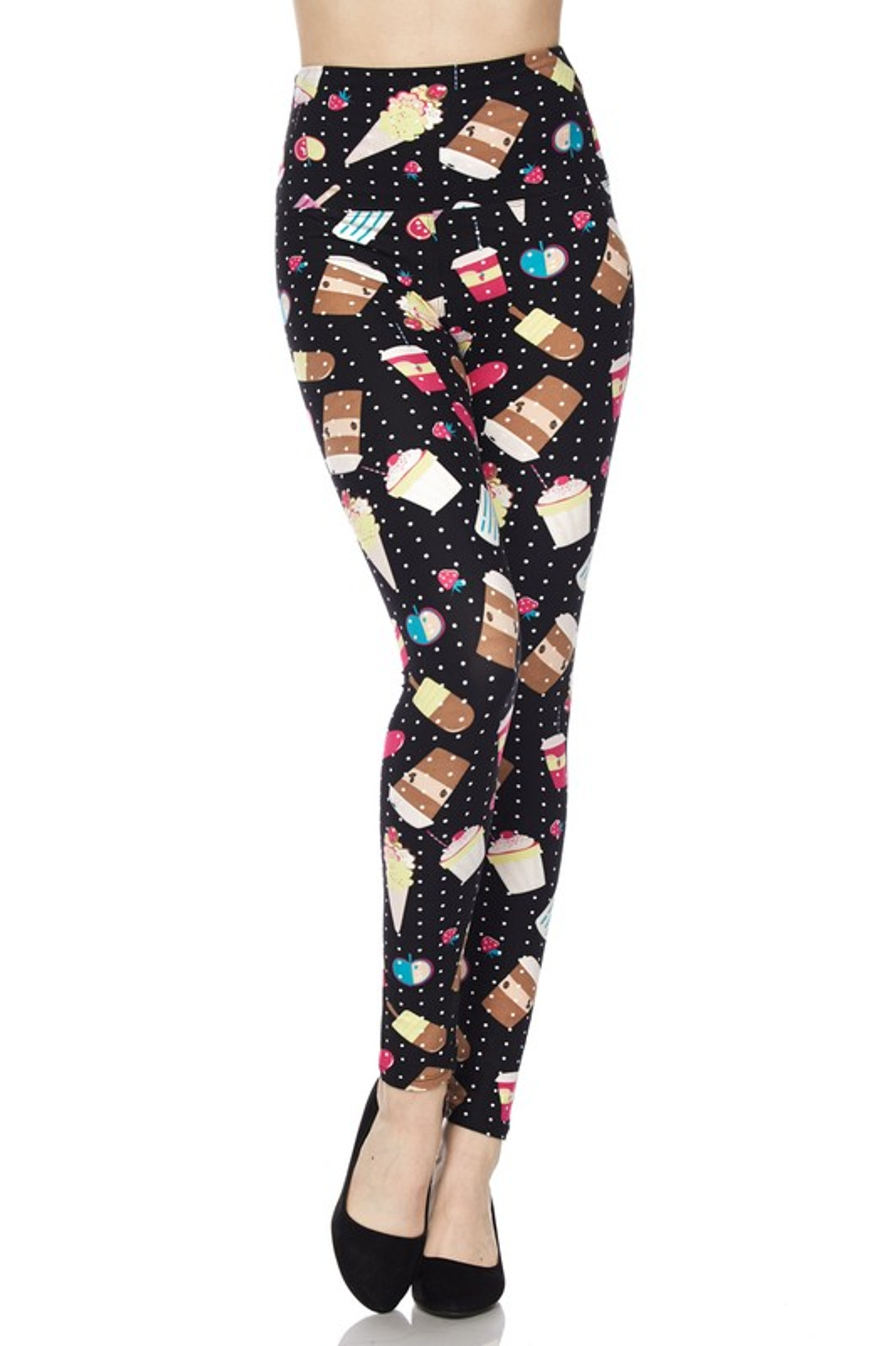 Summer Treats High Waisted Leggings - White Mini Dots