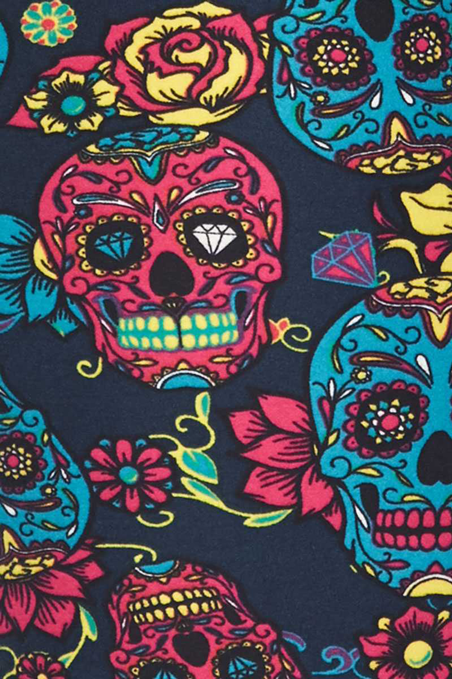 Brushed Red and Blue Sugar Skull Kids Leggings