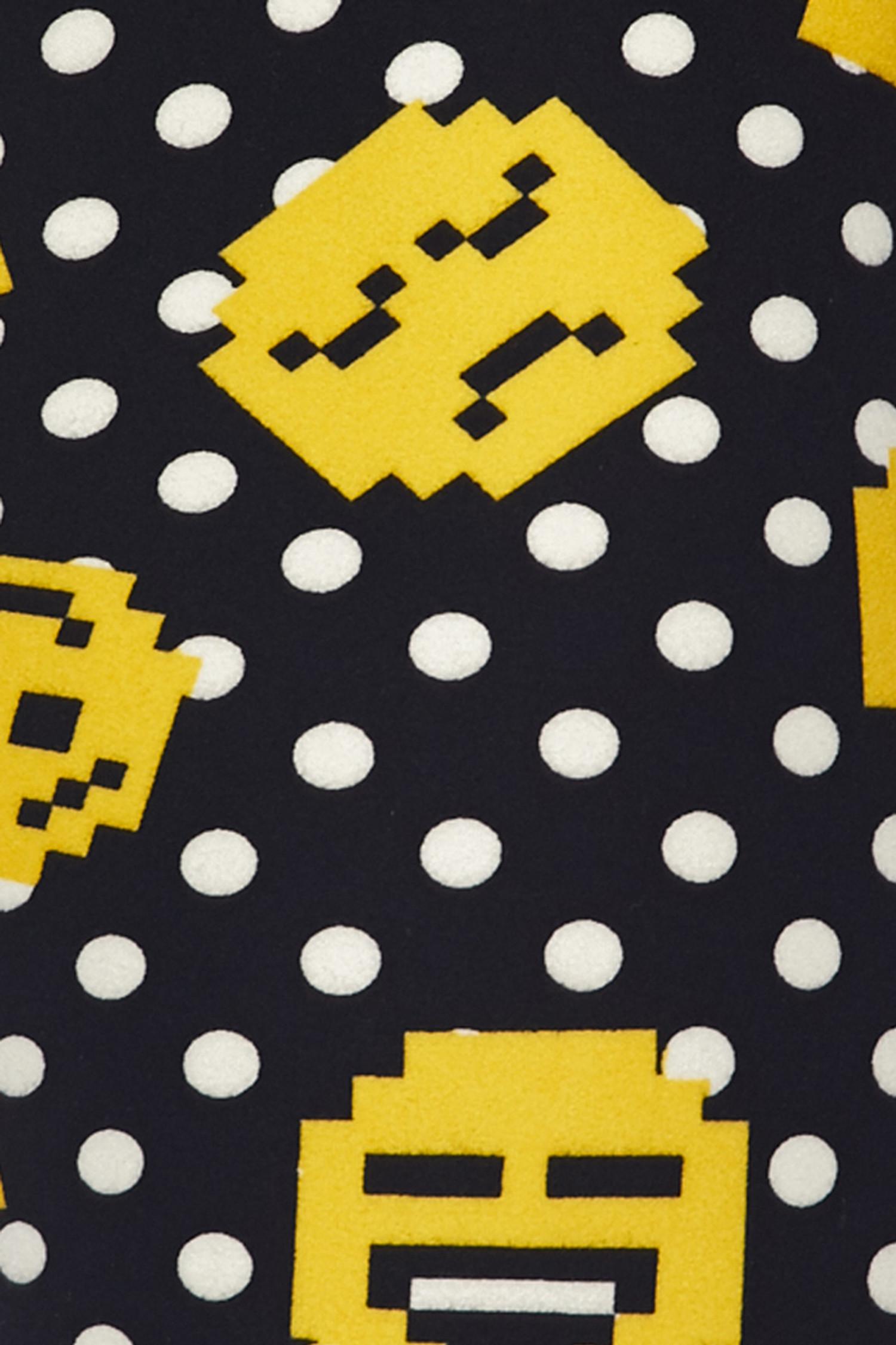 Brushed Retro Pixel Arcade Emoji Plus Size Leggings - 3X-5X