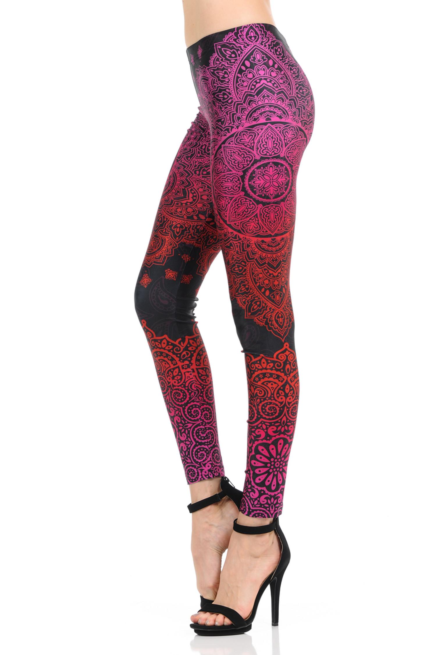 Red pink Ombre Paisley Mandala Leggings