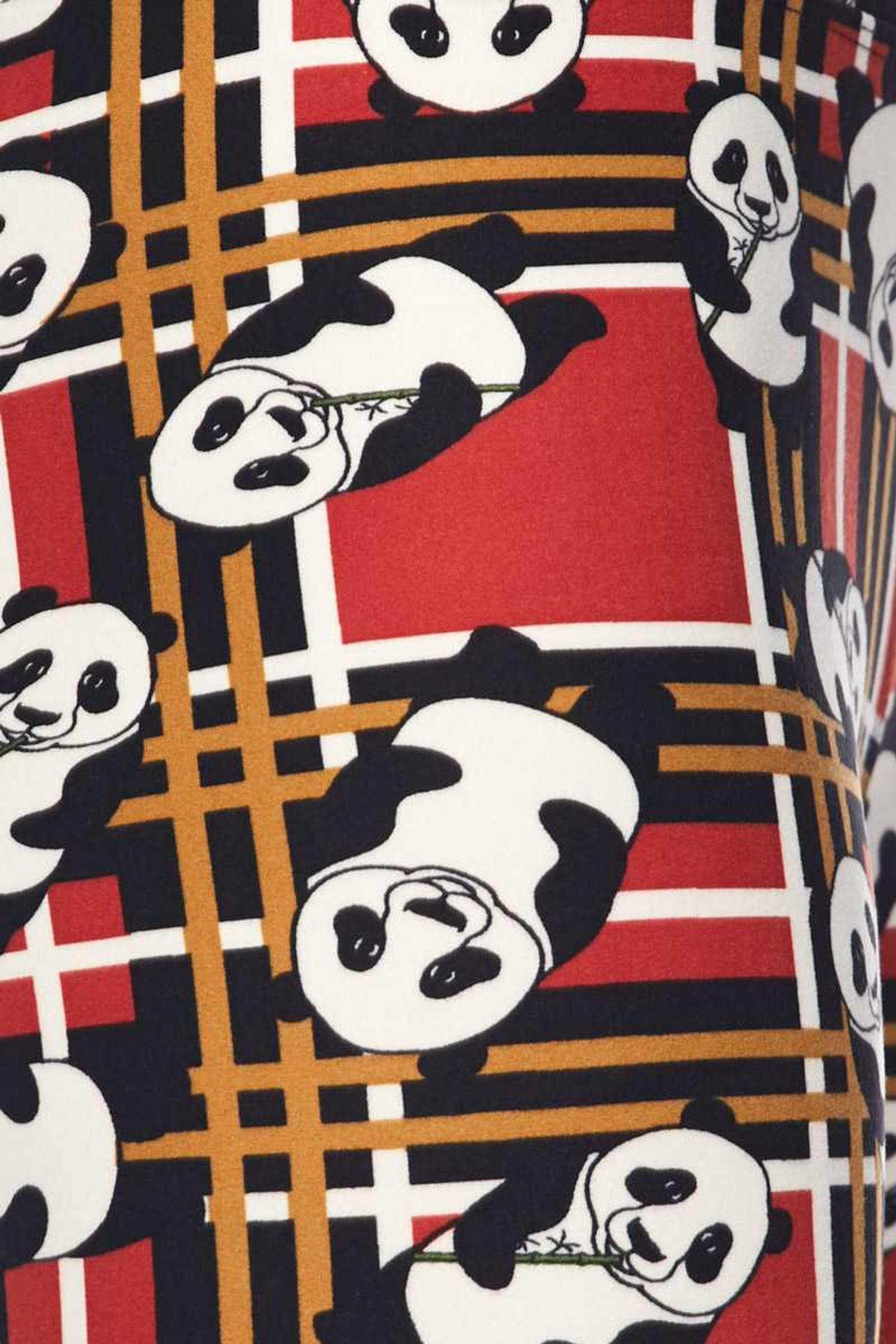 Brushed Plaid Panda High Waisted Leggings