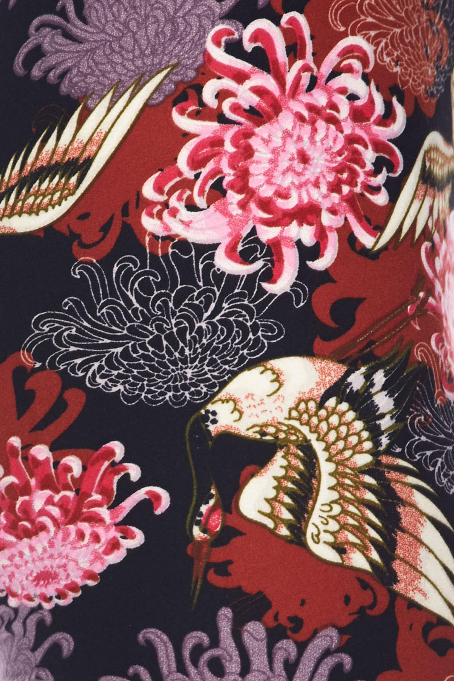 Brushed Japanese Cranes and Chrysanthemums Kids Leggings