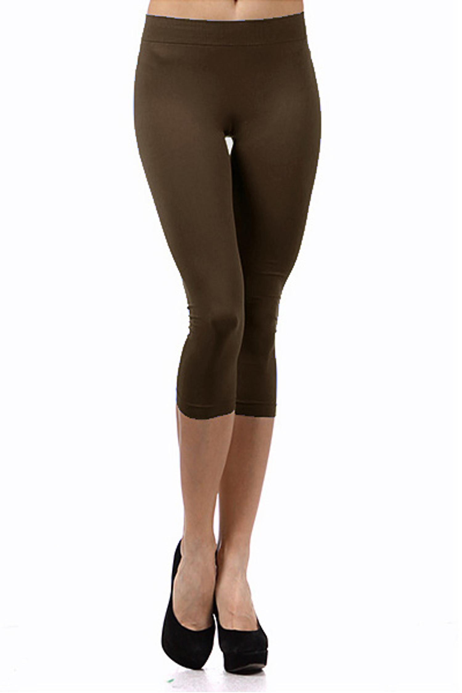 Basic Capri Length Spandex Leggings Brown