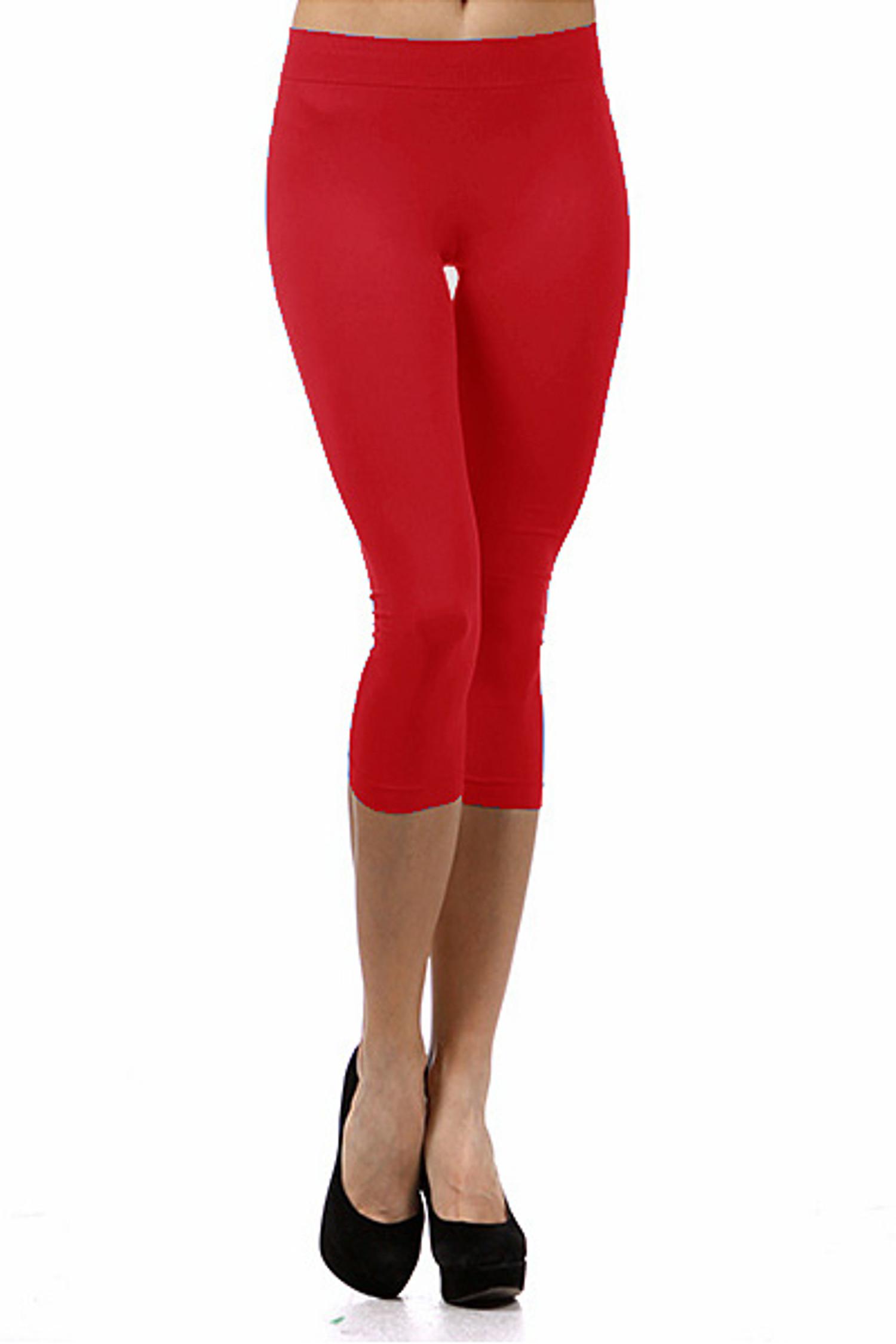 Basic Capri Length Spandex Leggings Red