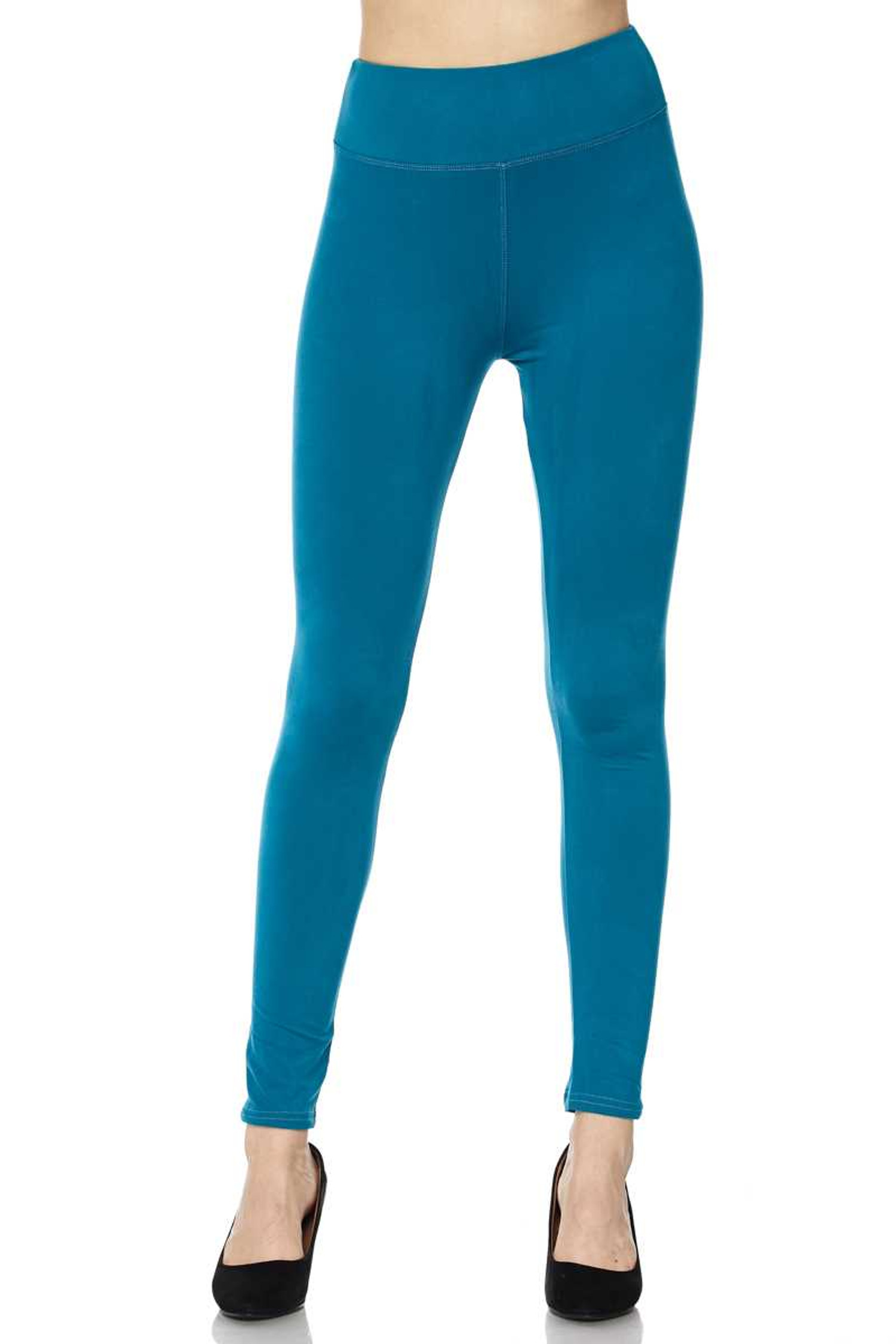 Brushed High Waisted Plus Size Basic Solid Leggings - 3 Inch Band