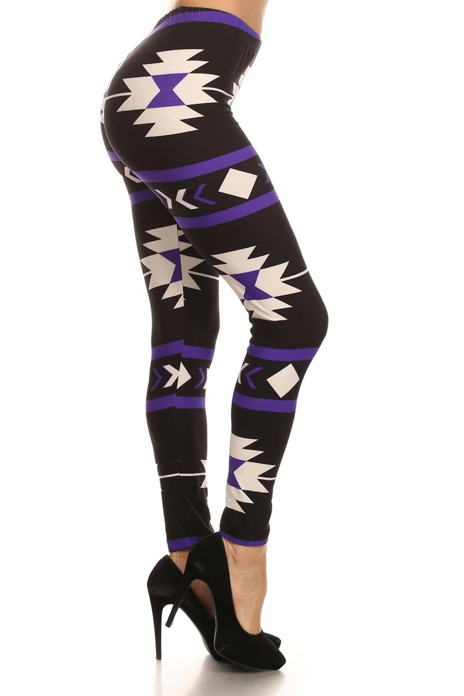 Brushed Purple Azteca Tribal Leggings