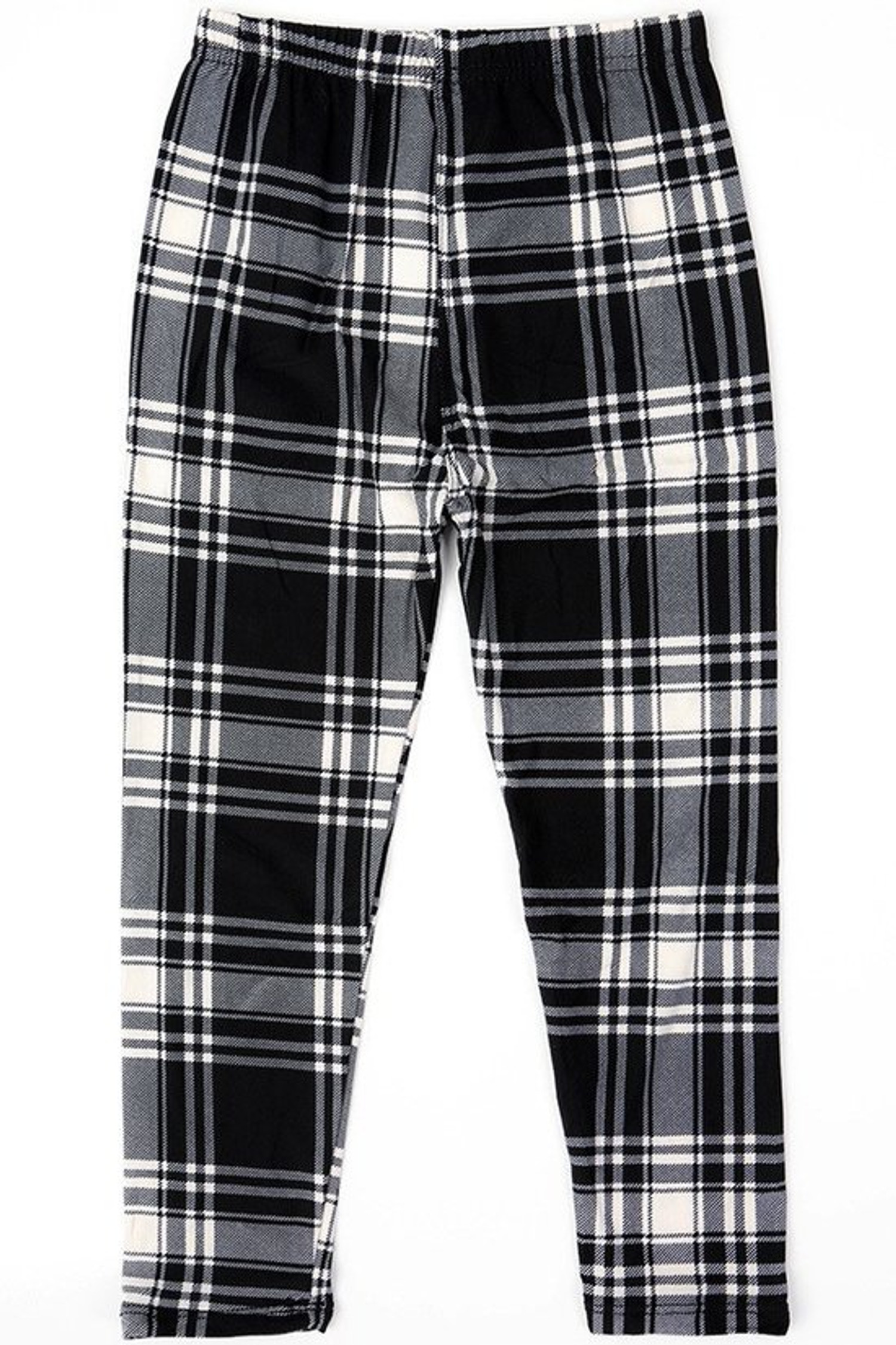 Brushed White Plaid Kids Leggings