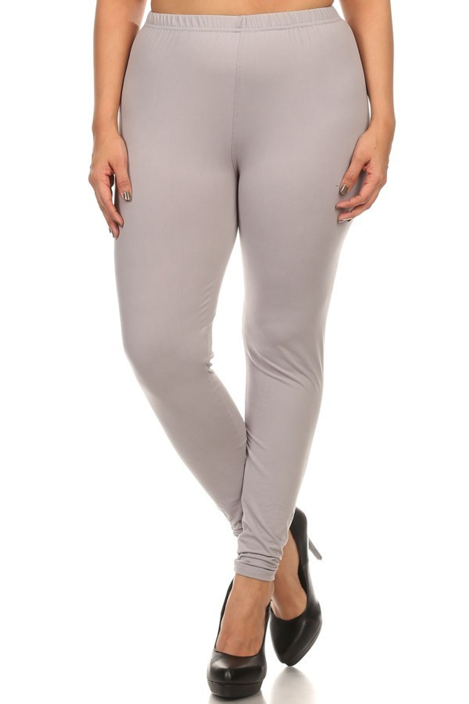 Brushed Basic Solid Leggings Plus Size - 3X-5X