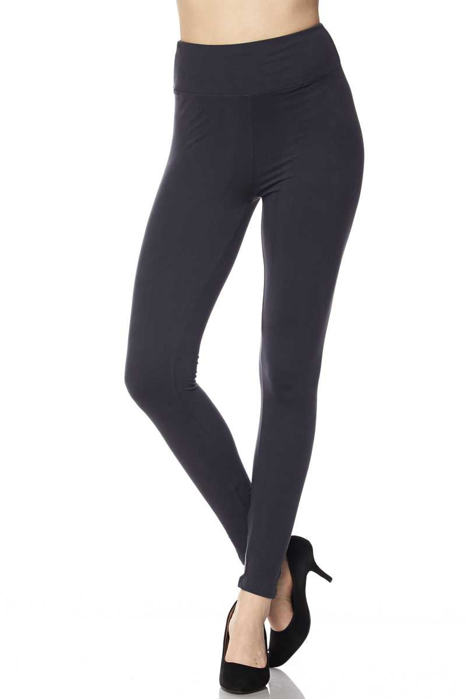Brushed Basic Solid High Waisted Plus Size Leggings - 3X-5X - New Mix