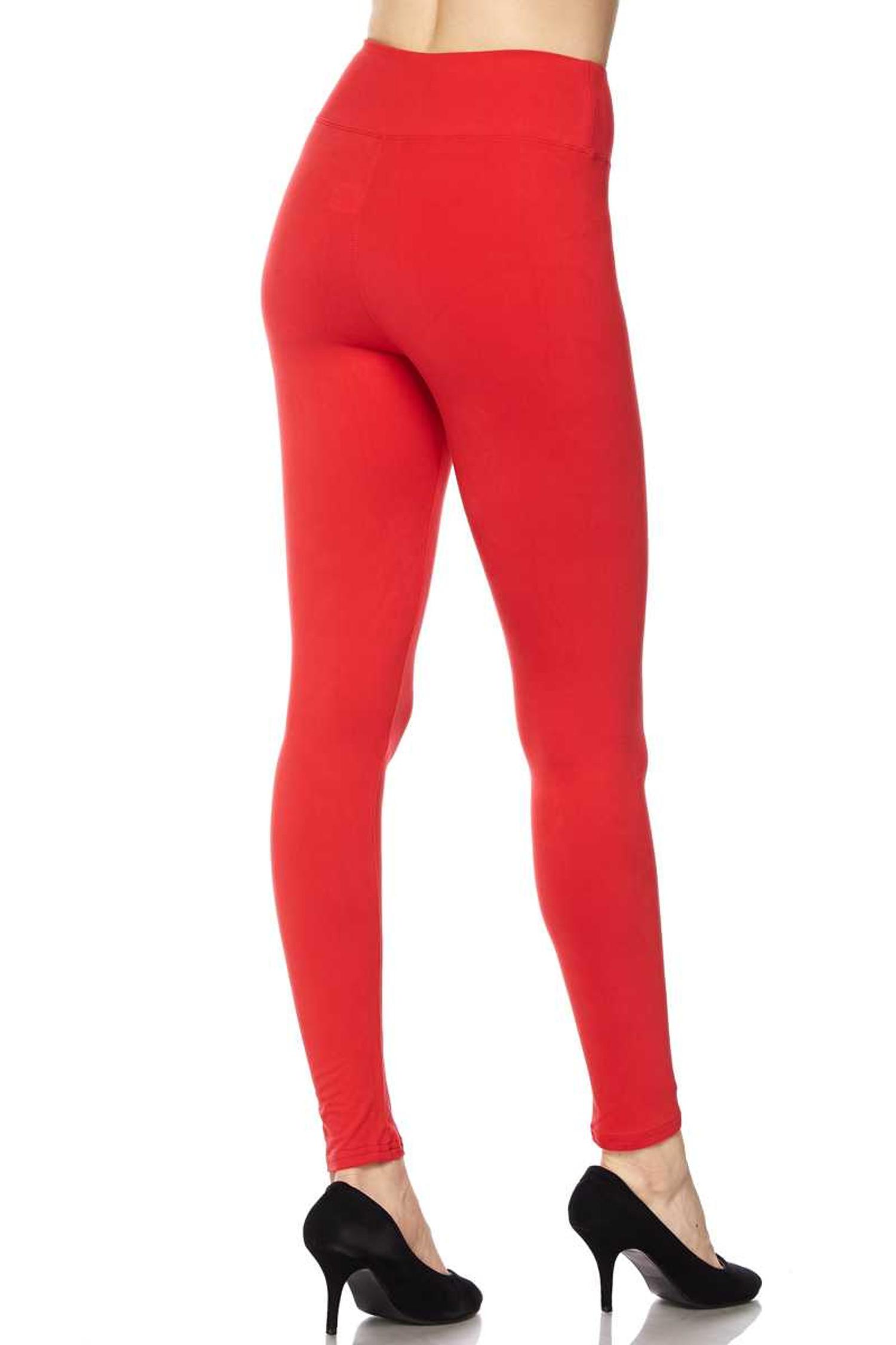 Brushed Basic Solid High Waisted Plus Size Leggings - 3X-5X