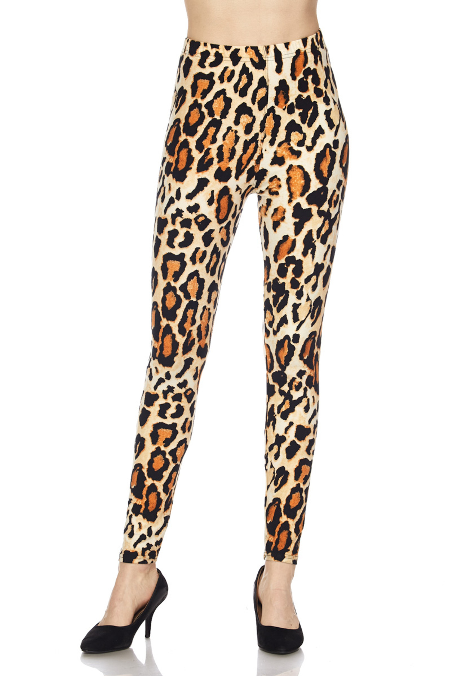 BrushedBrazilian Leopard Plus Size Leggings - 3X-5X