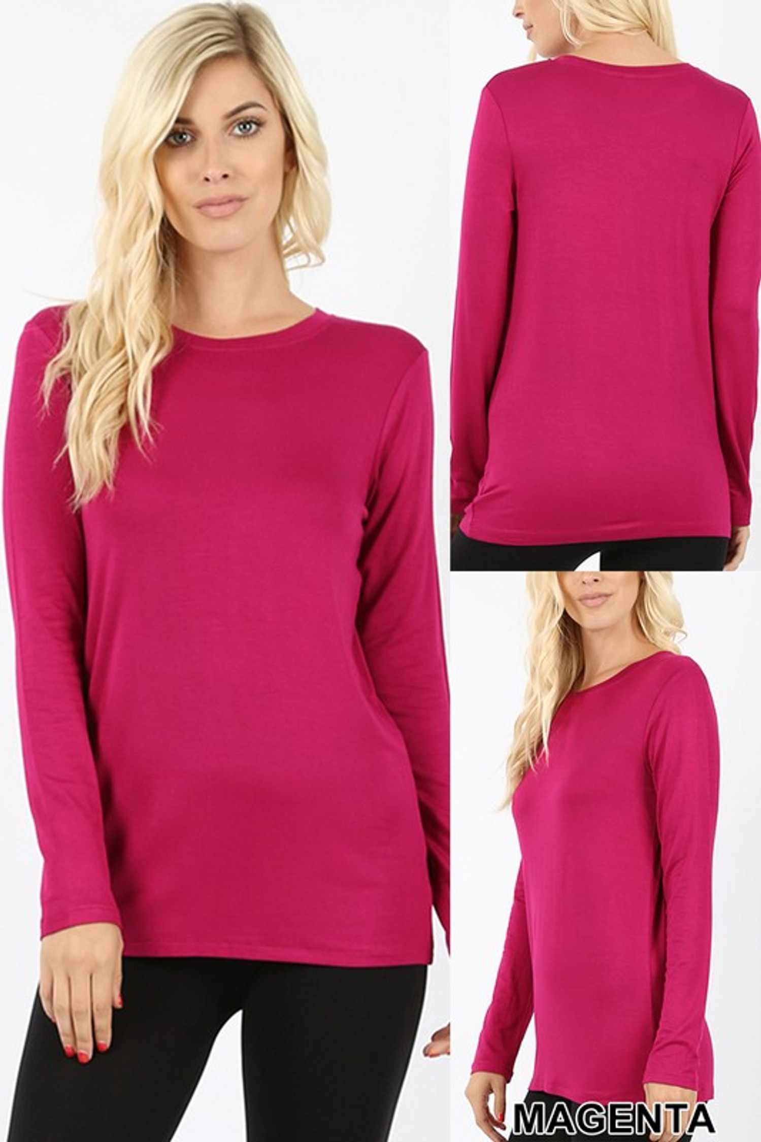 Round Neck Long Sleeve Rayon Top