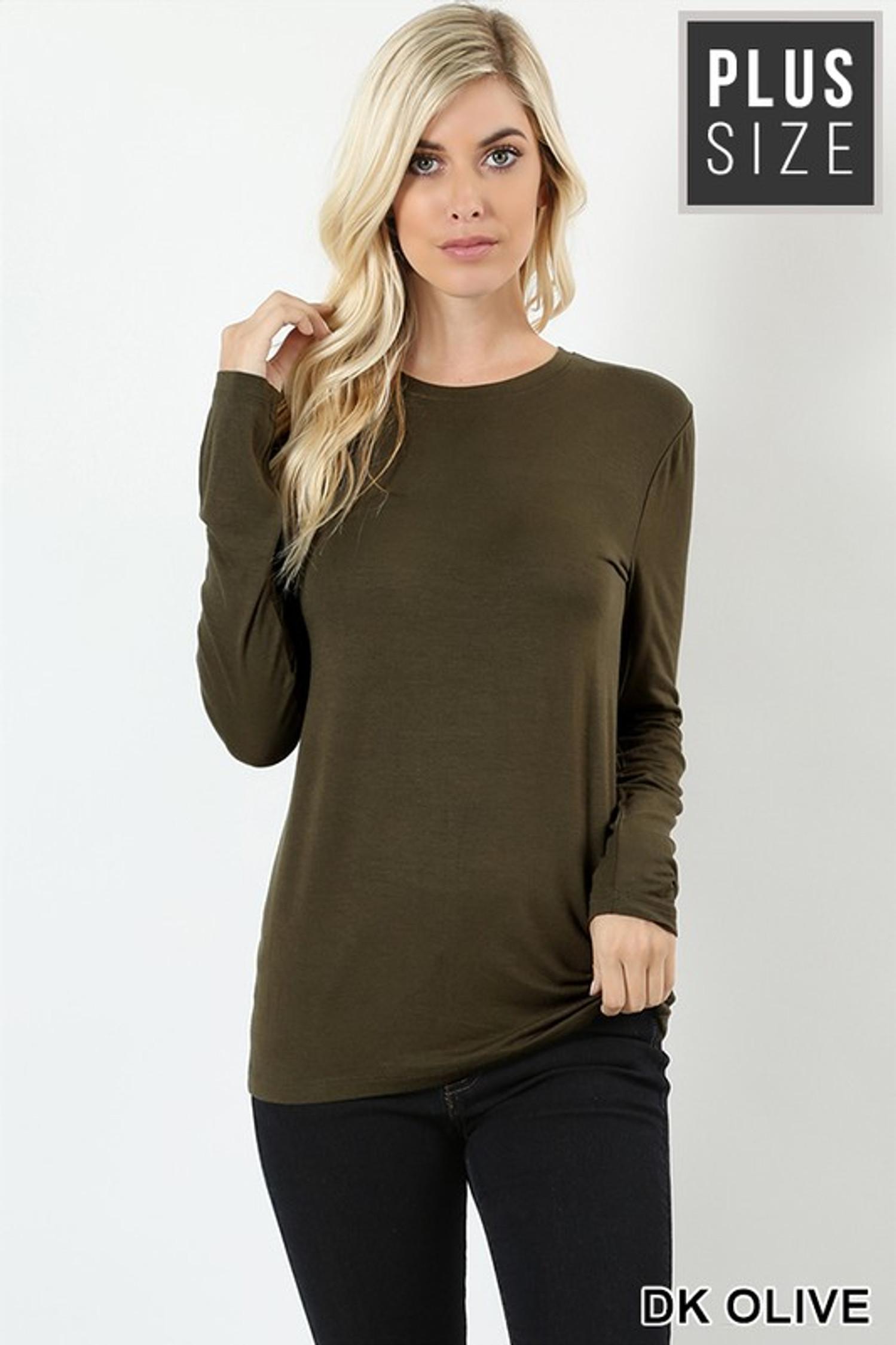 Premium Round Neck Long Sleeve Rayon Plus Size Top