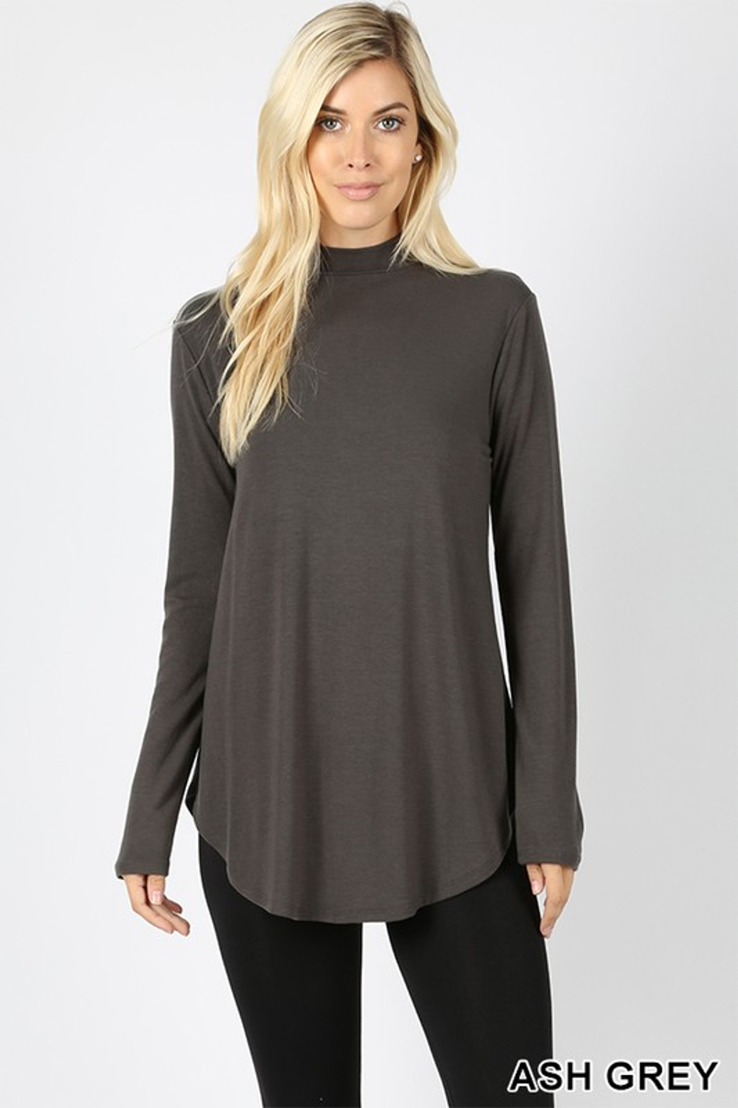Premium Long Sleeve Mock Neck Round Hem Top