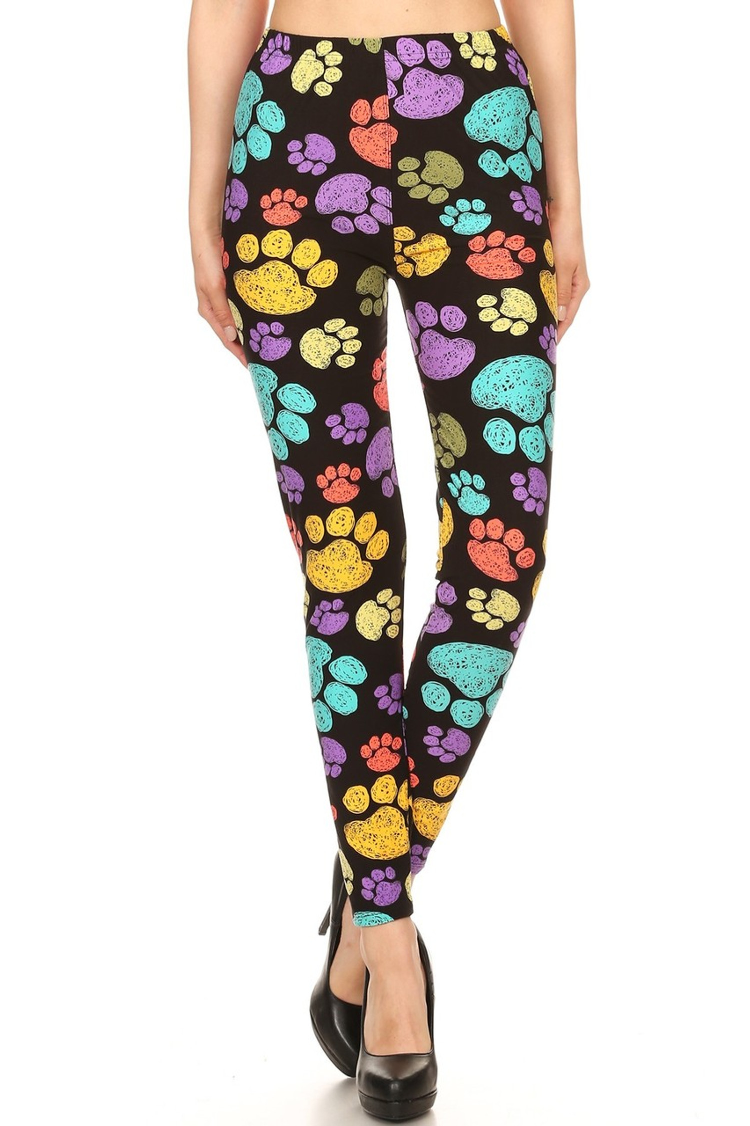 Brushed Colorful Paw Print Leggings - YCC
