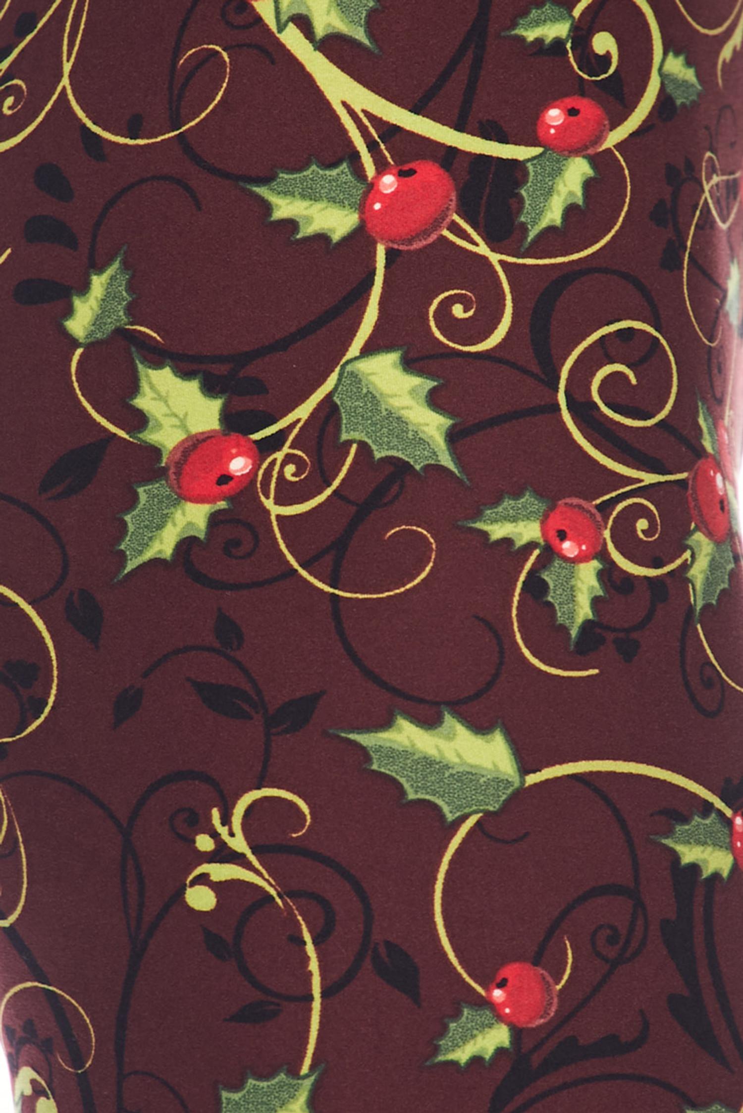 Brushed Christmas Holly Leggings