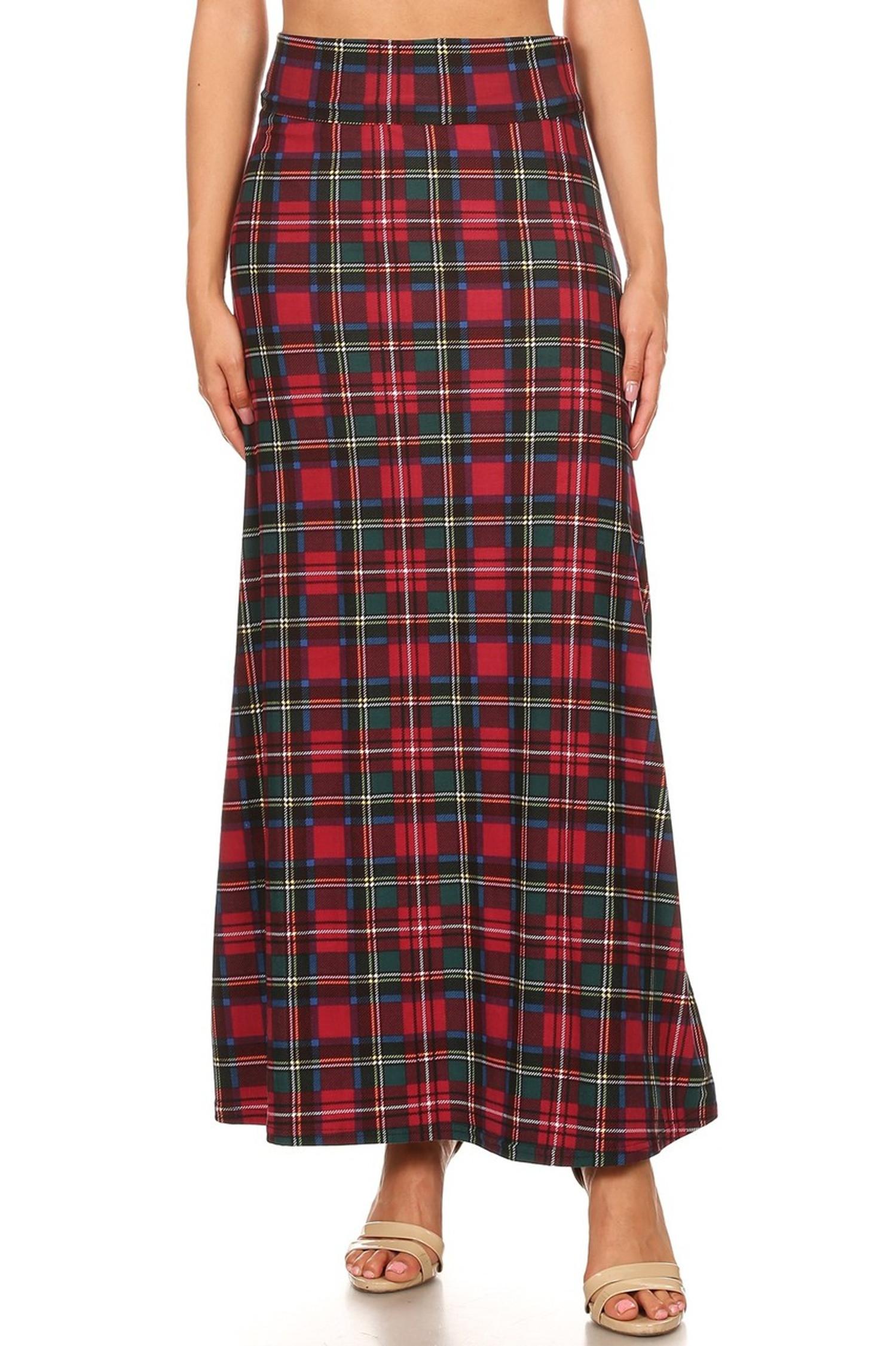Modish Plaid Maxi Skirt
