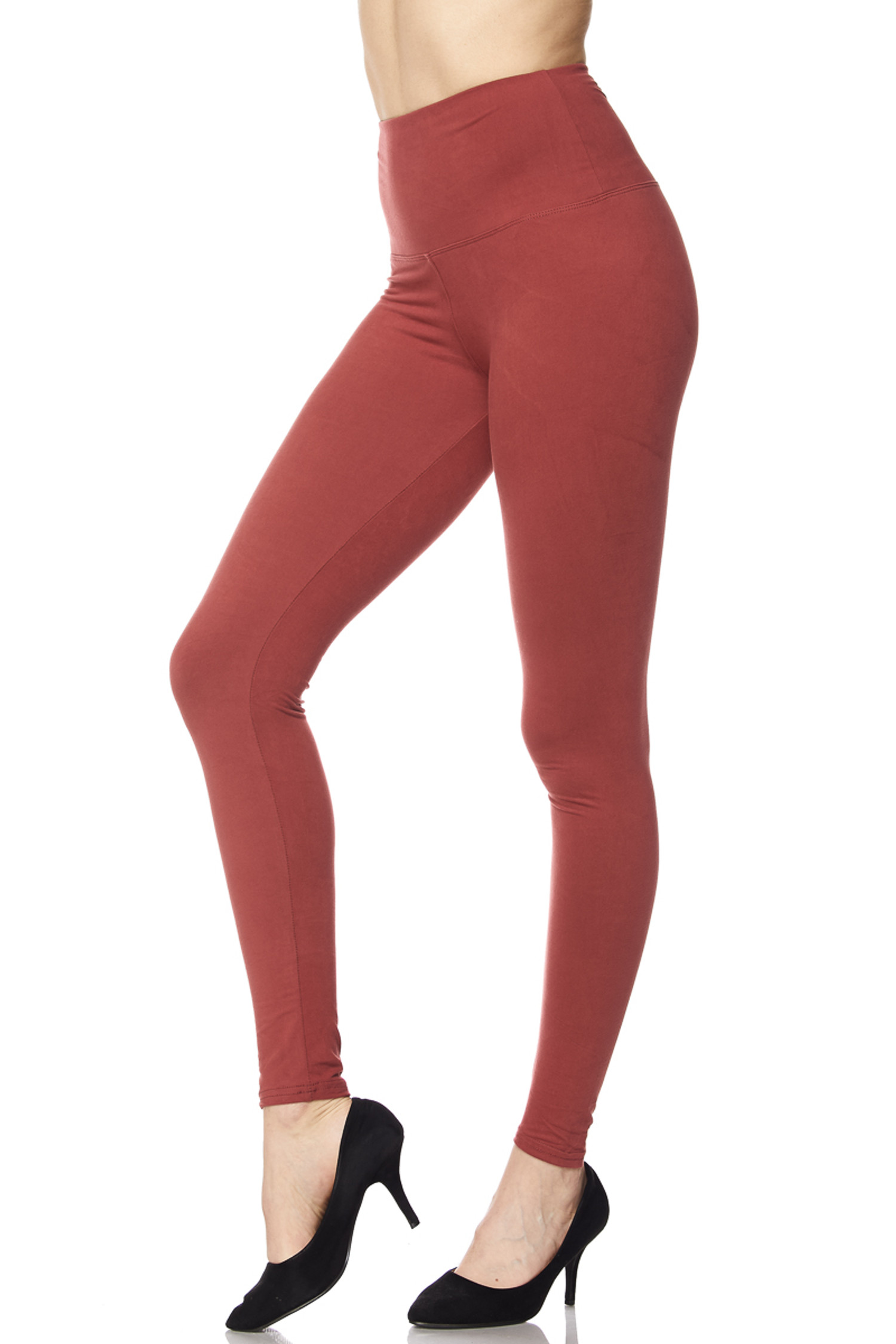 Brushed High Waisted Plus Size Basic Solid Leggings - 5 Inch Band