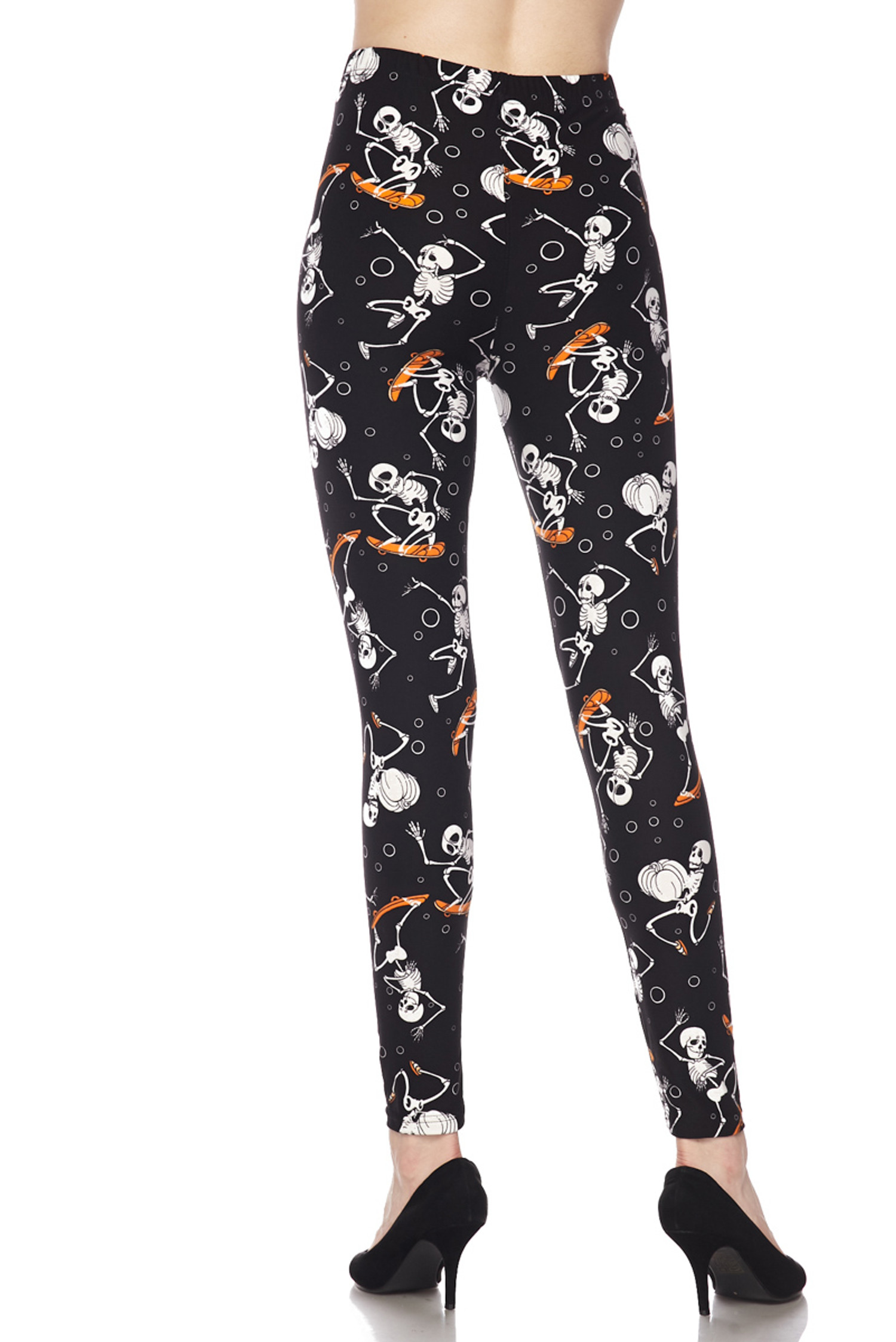 Brushed Skateboarding Skeletons Plus Size Leggings - 3X - 5X