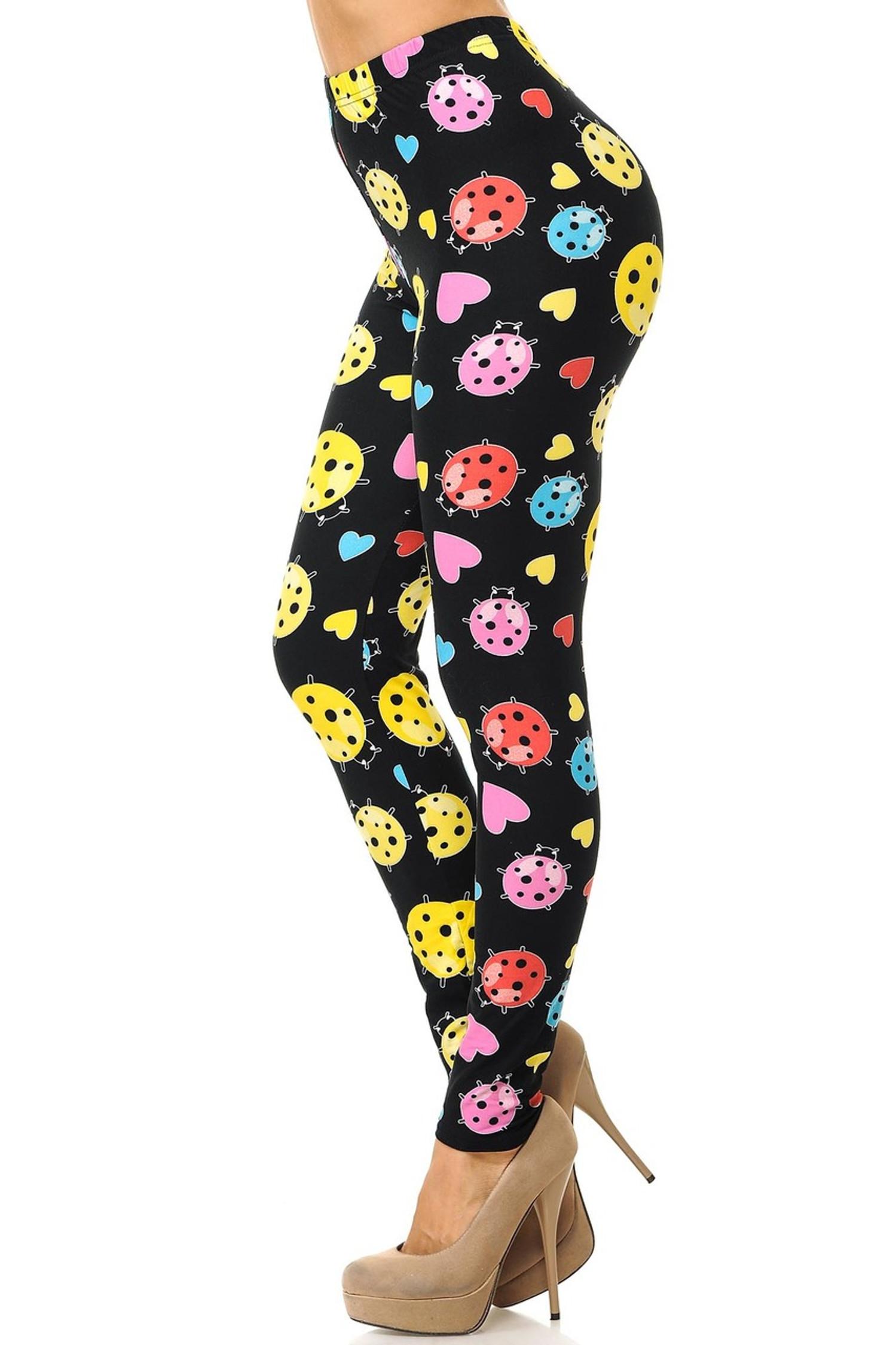 Brushed Ladybugs and Hearts Plus Size Leggings