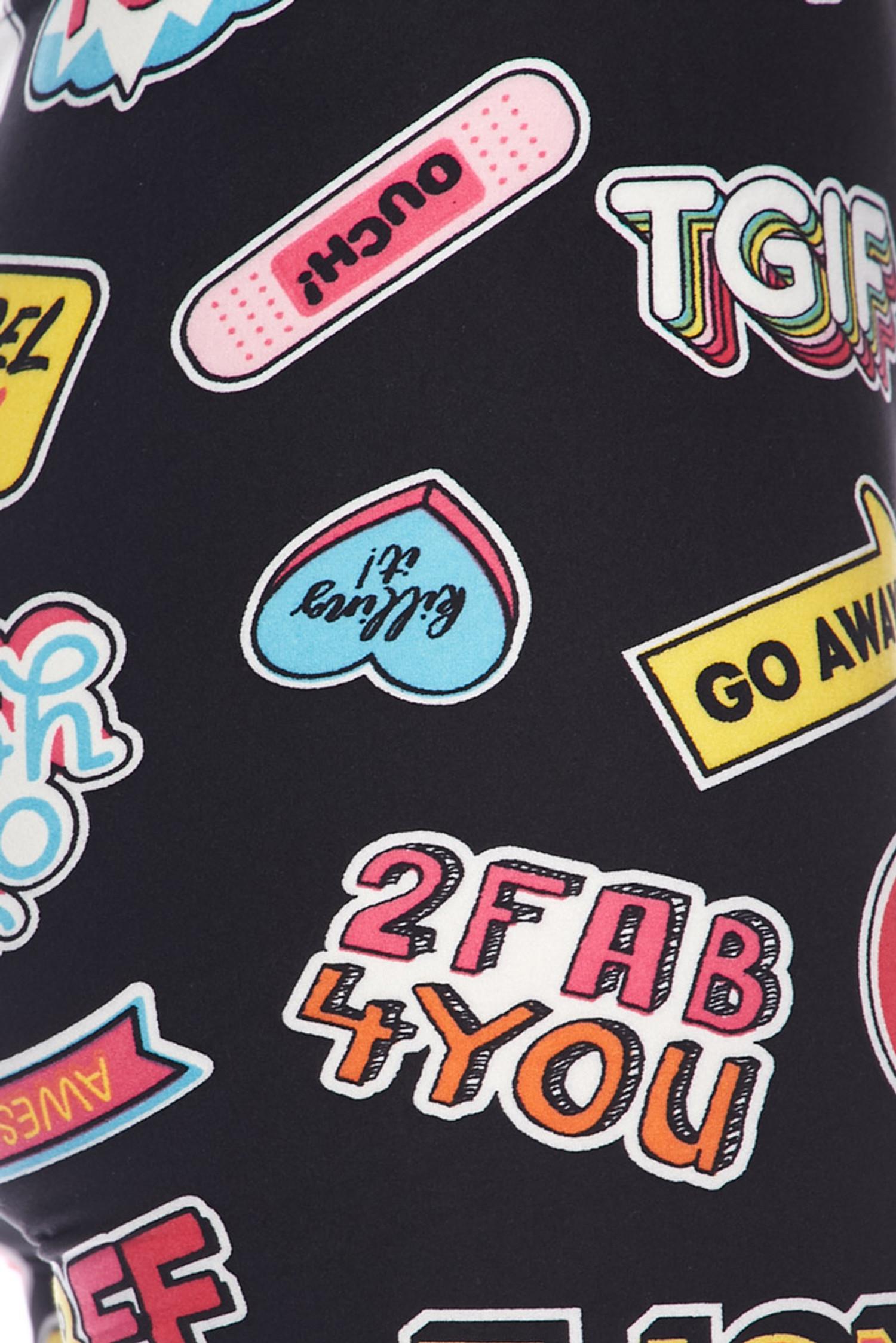 Brushed Sassy Stickers Plus Size Leggings