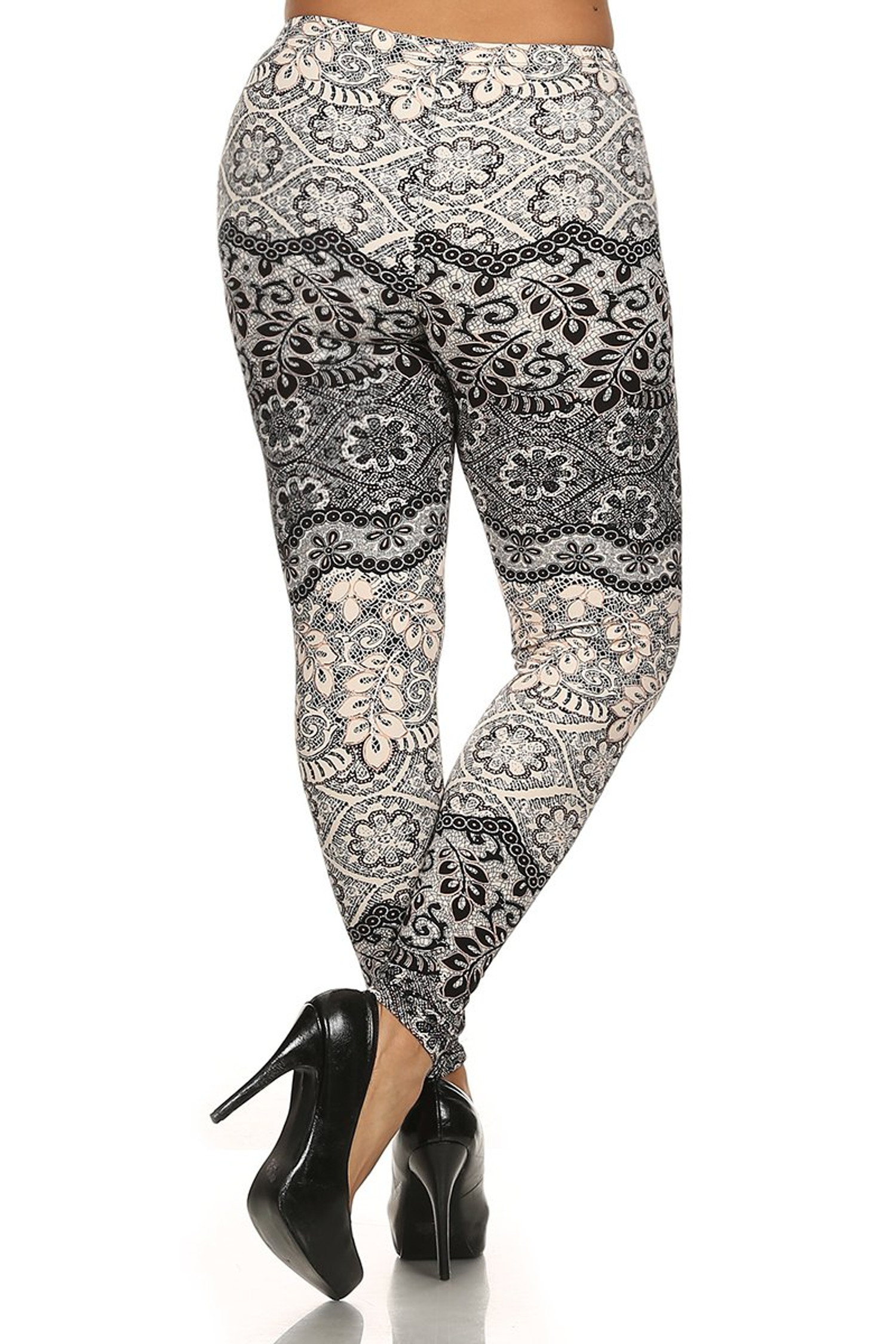 Brushed Exquisite Leaf Plus Size Leggings