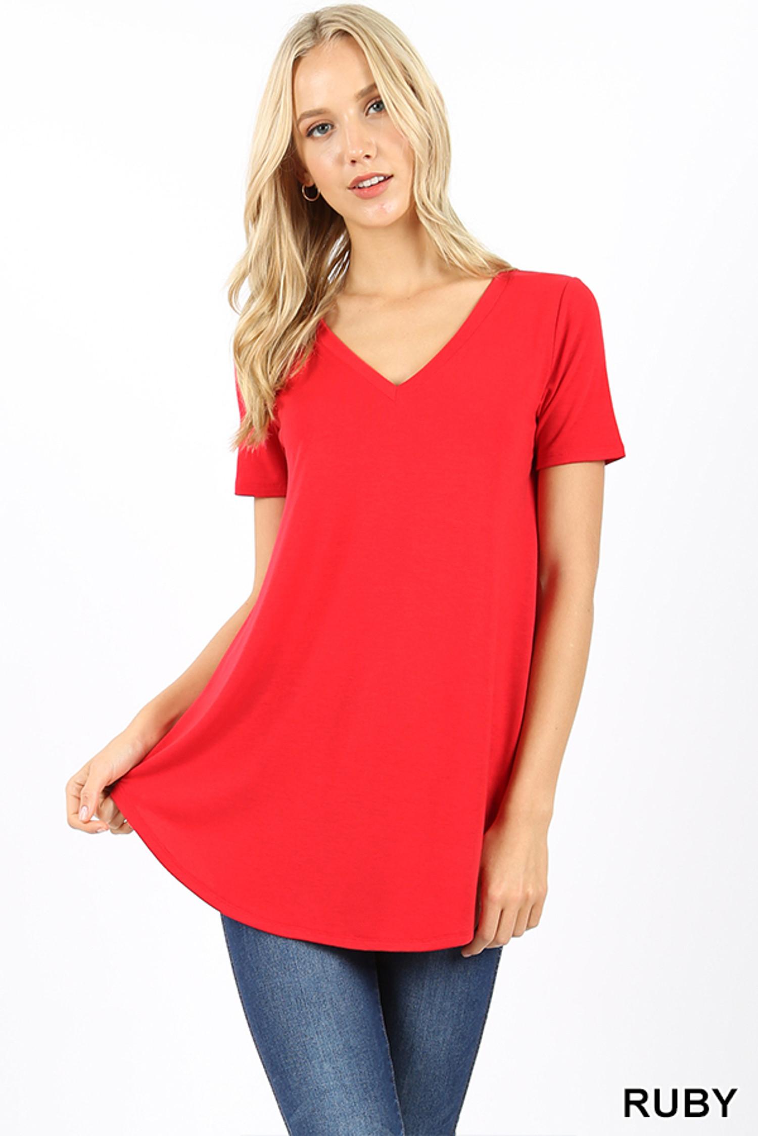 Premium Short Sleeve V-Neck Round Hem Top