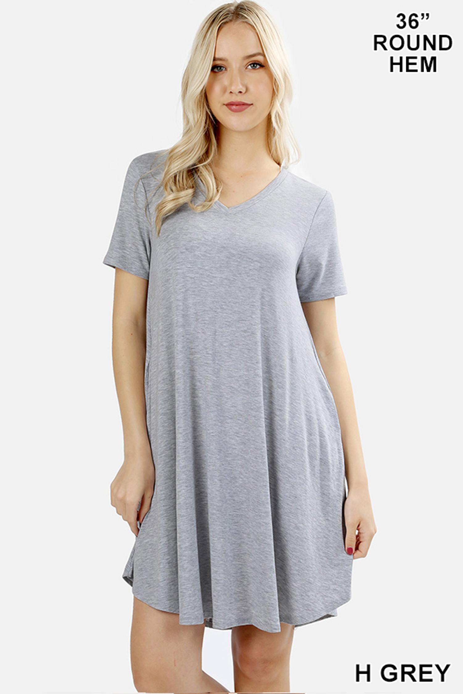 V-Neck Round Hem Short Sleeve Rayon Top with Pockets - 36 Inch