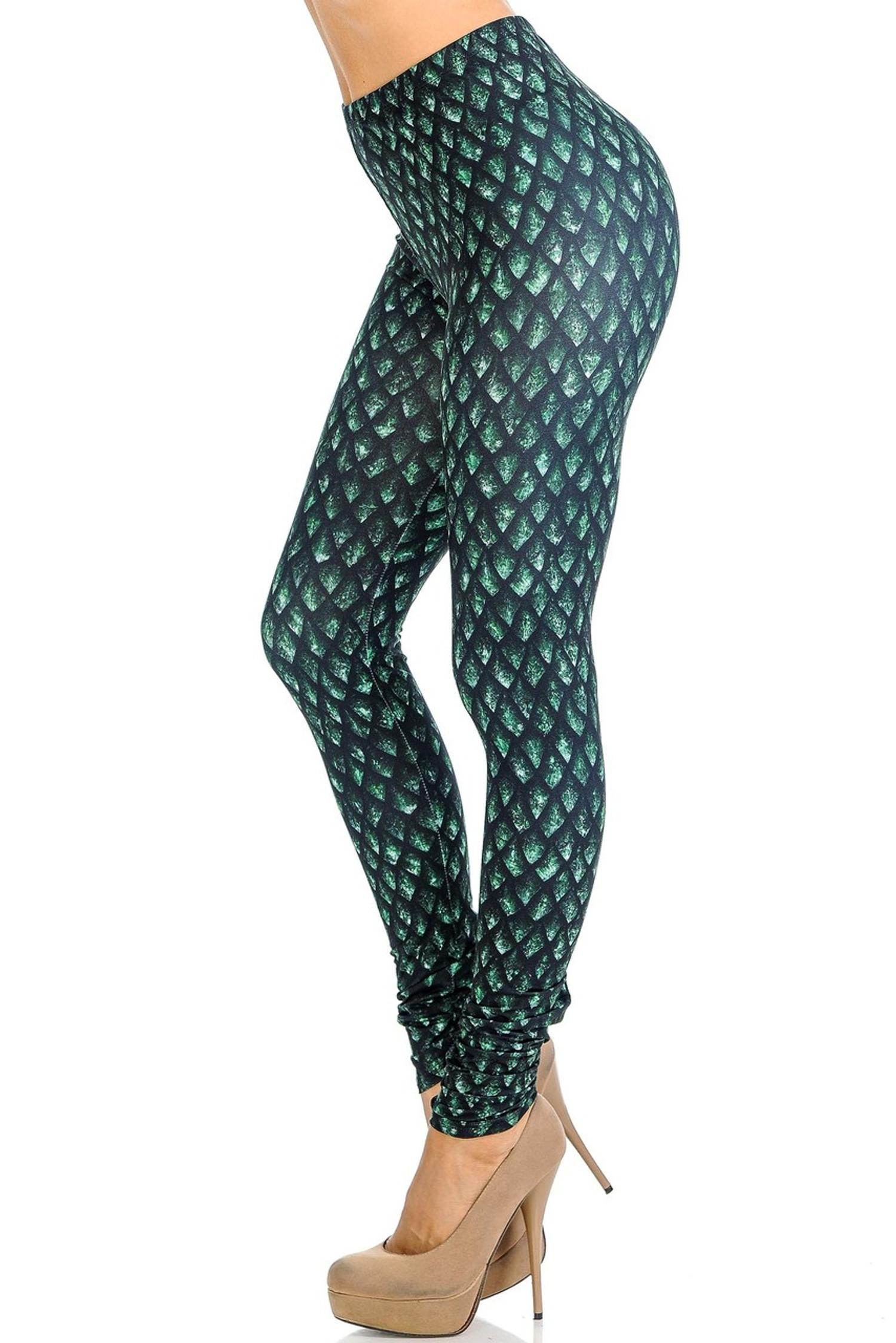 Creamy Soft Green Dragon Scale Leggings - Signature Collection