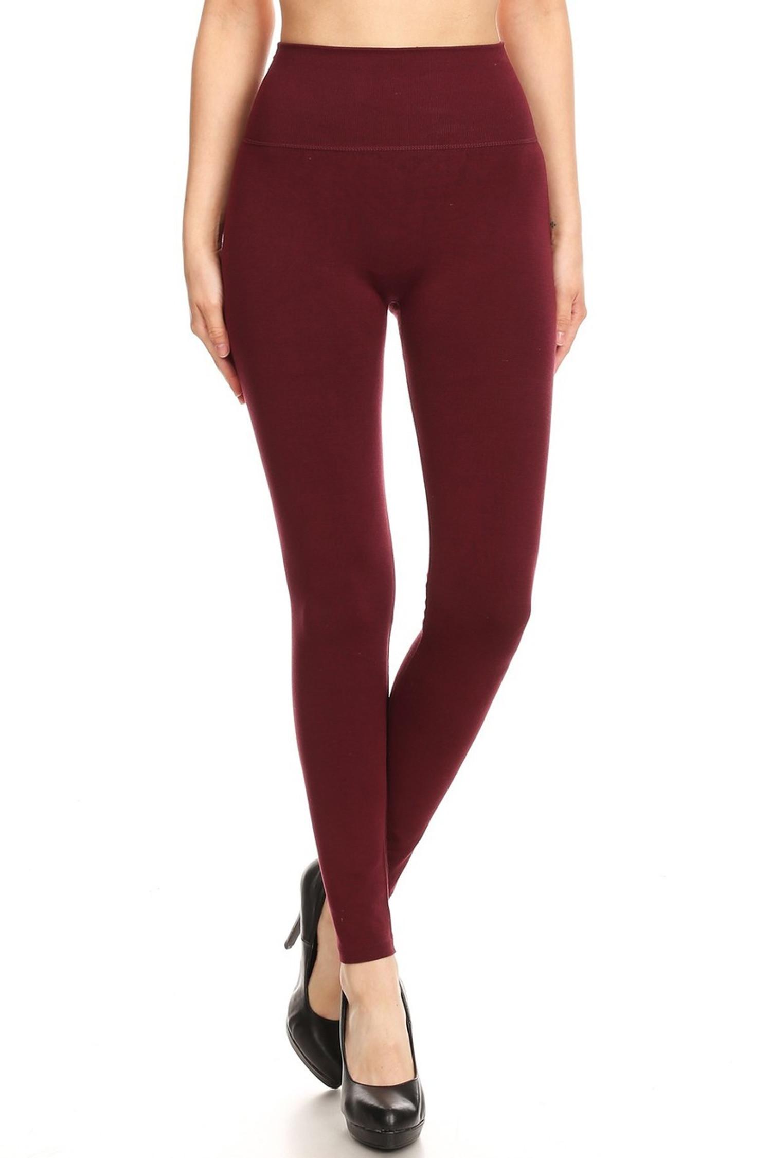 Burgundy Premium High Waisted Basic Leggings