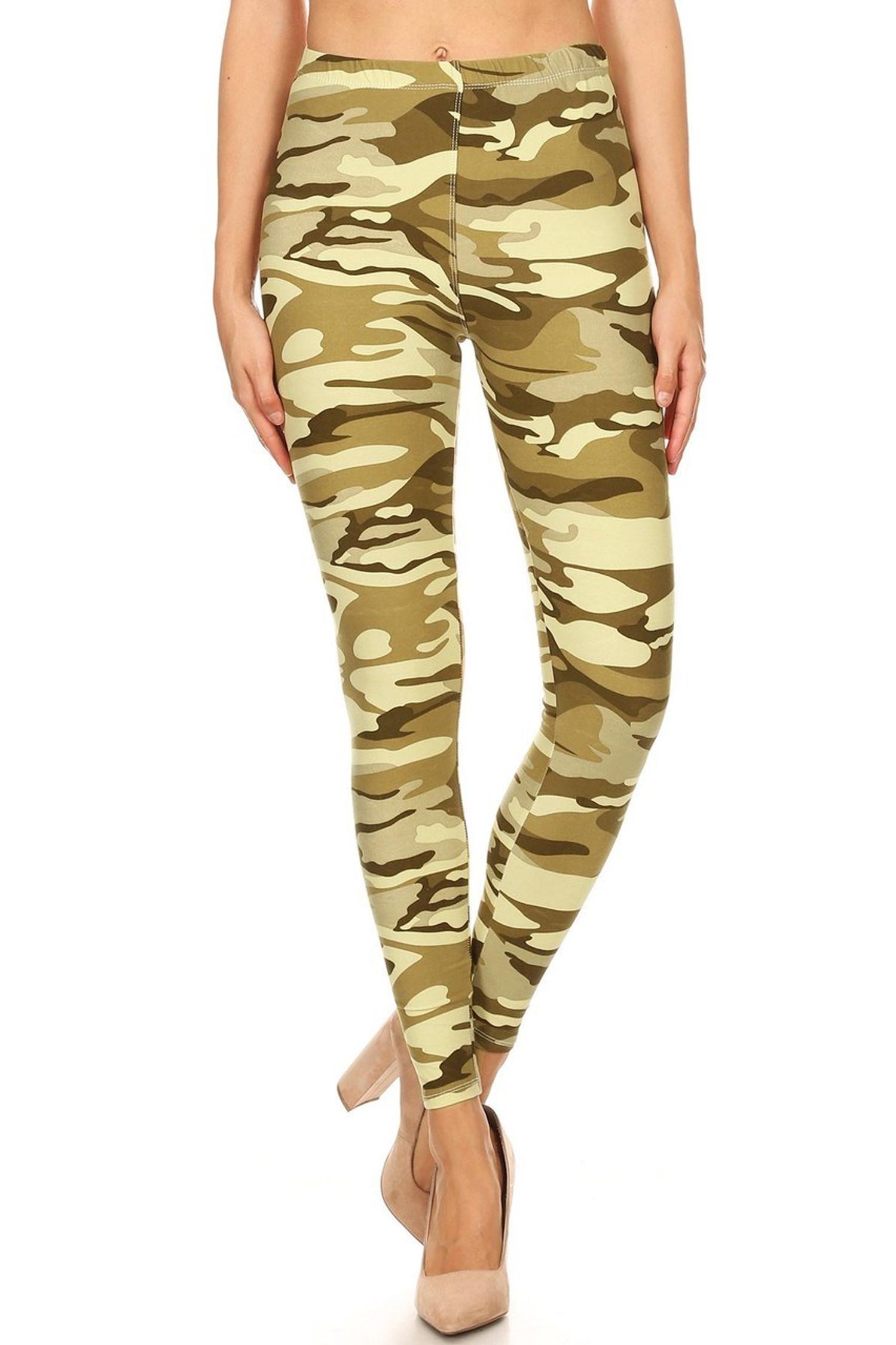 Brushed Light Olive Camouflage Leggings