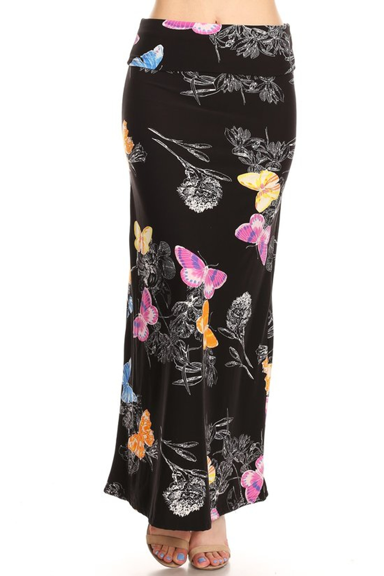 Front image of Brushed Beautiful Butterfly Maxi Skirt