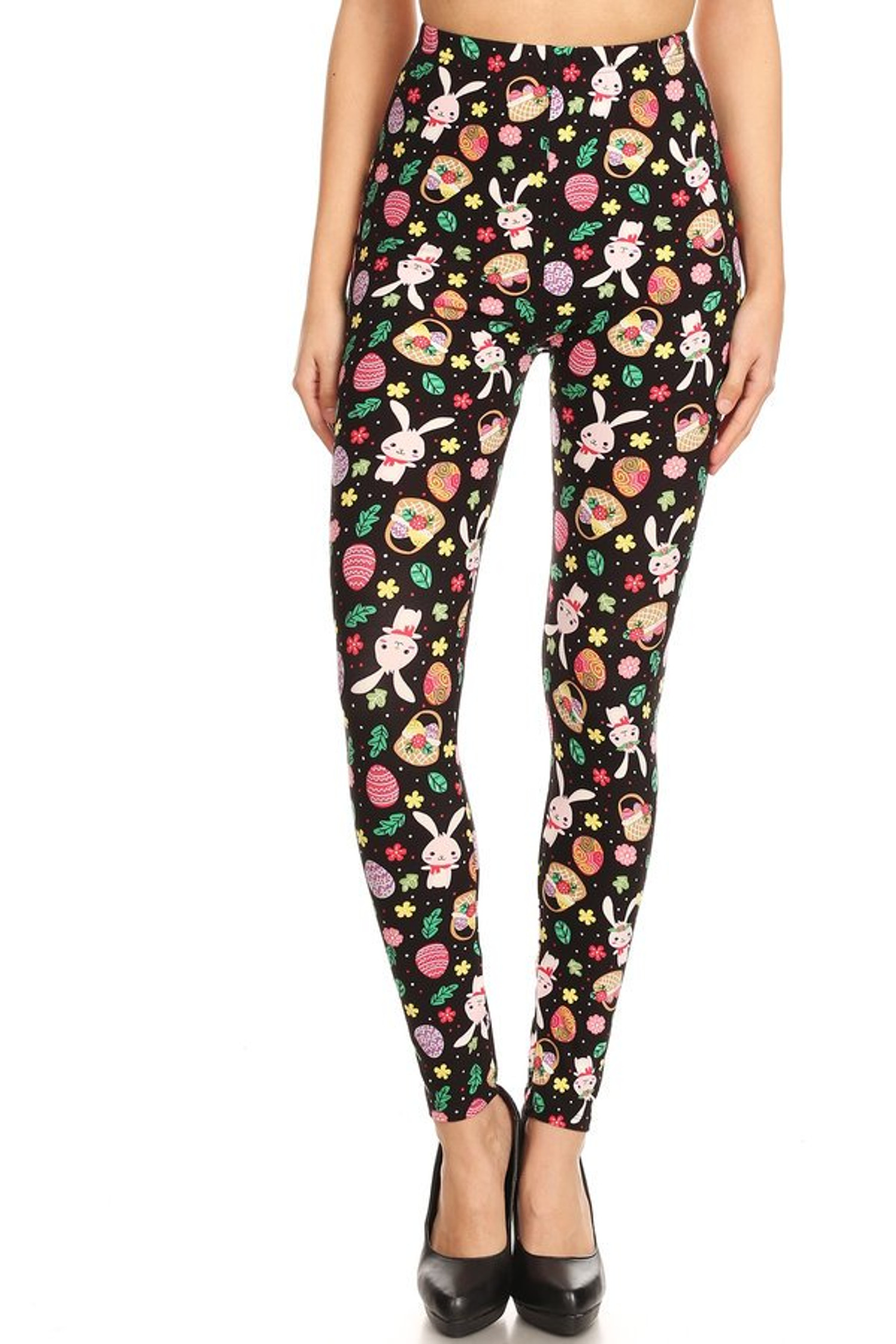 Brushed Happy Easter Plus Size Leggings - 3X-5X
