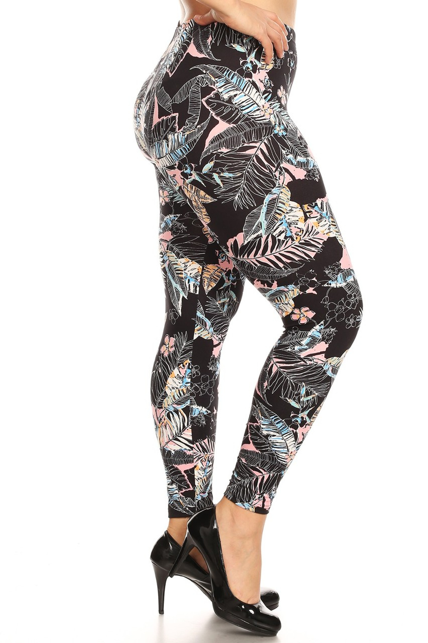 Brushed Pink Floral Tropics Plus Size Leggings