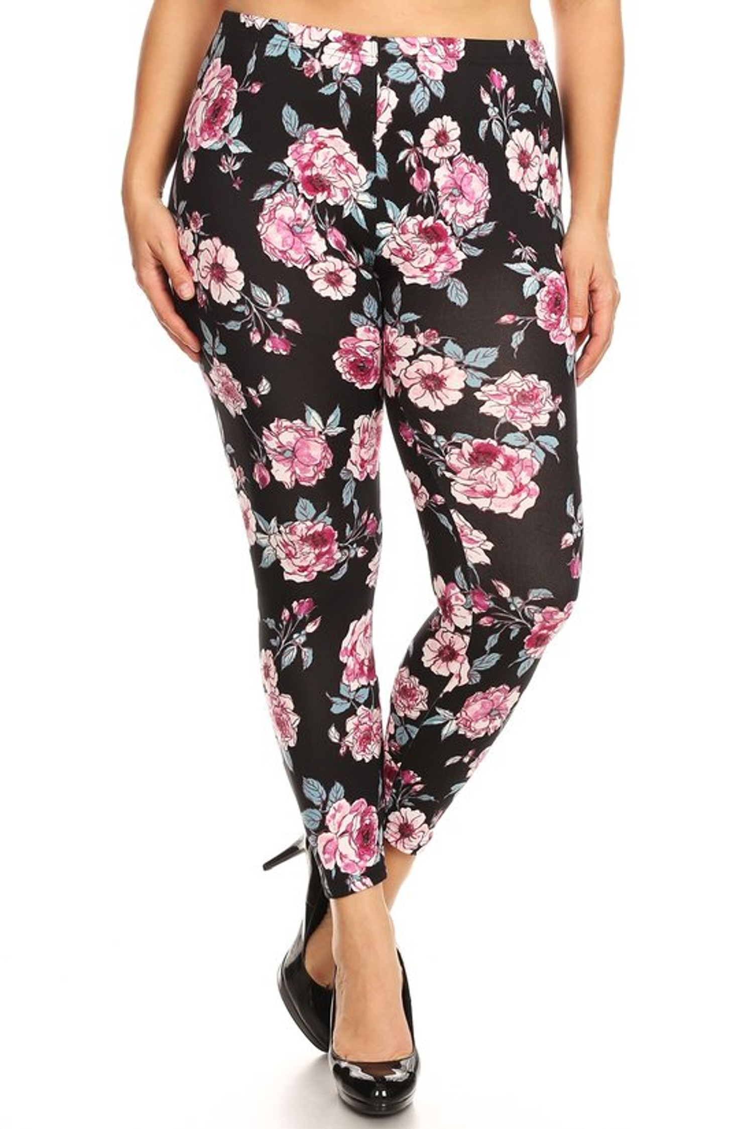 Brushed Perfect Pink Rose Plus Size Leggings