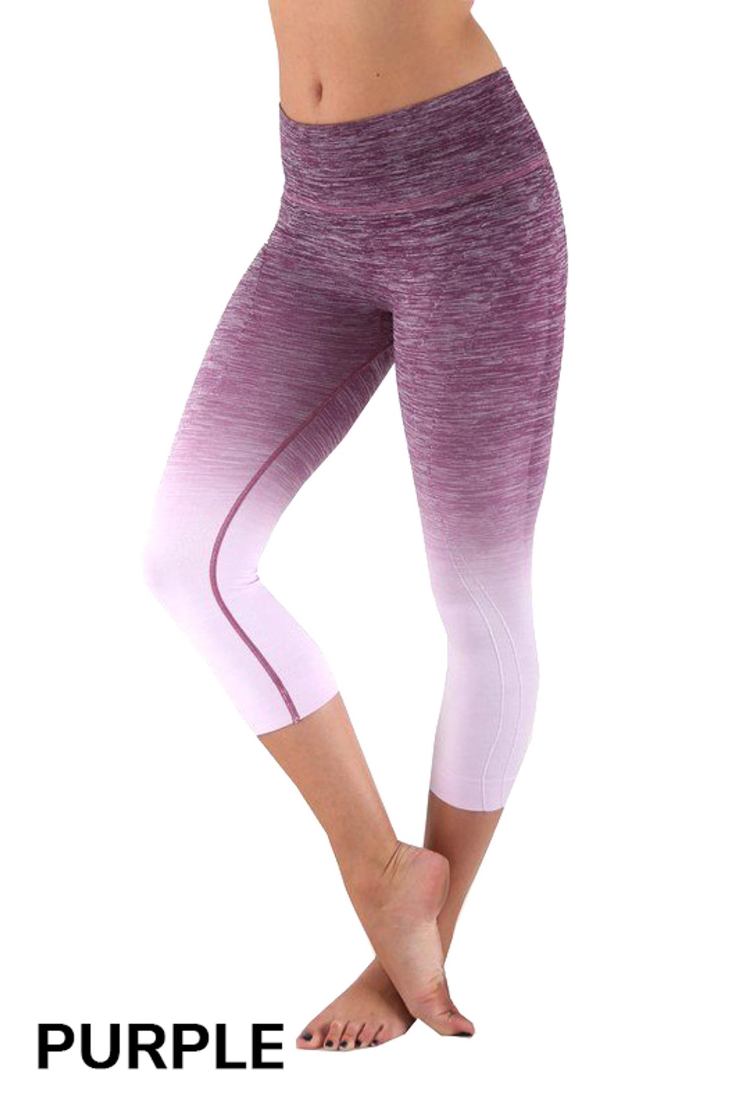 Purple Ombre Fusion Workout Plus Size Capris