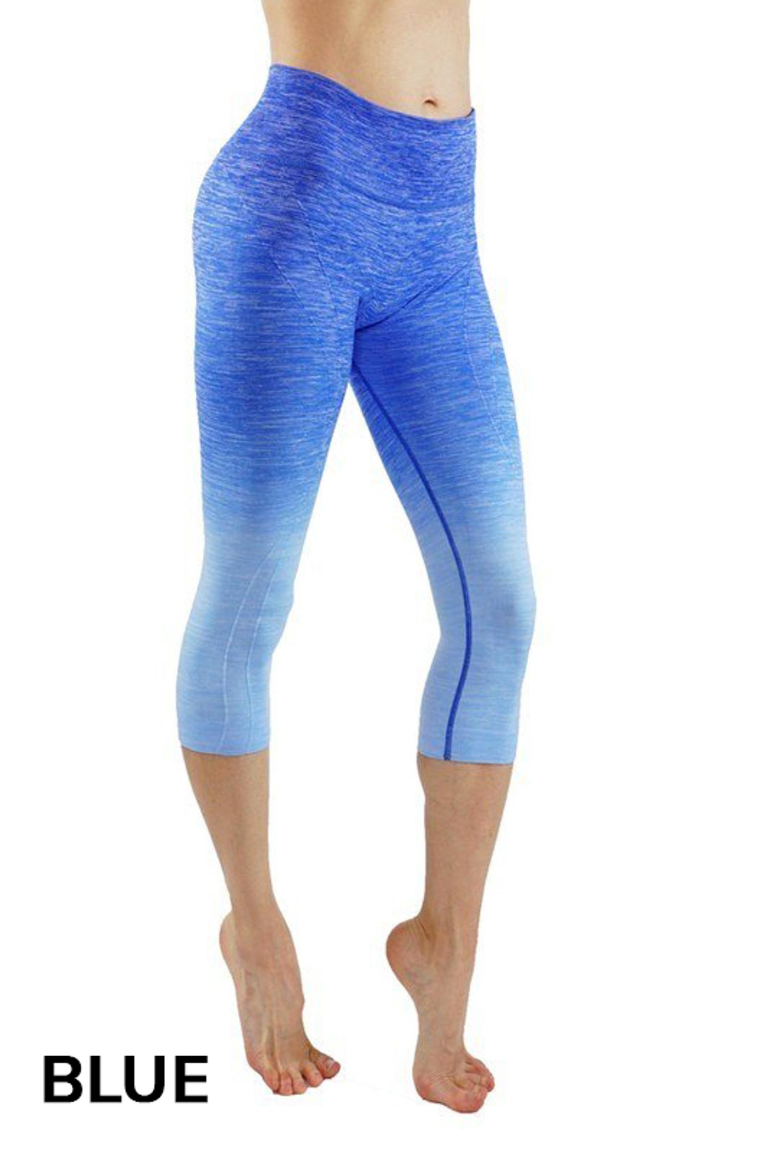 Blue Ombre Fusion Workout Plus Size Capris