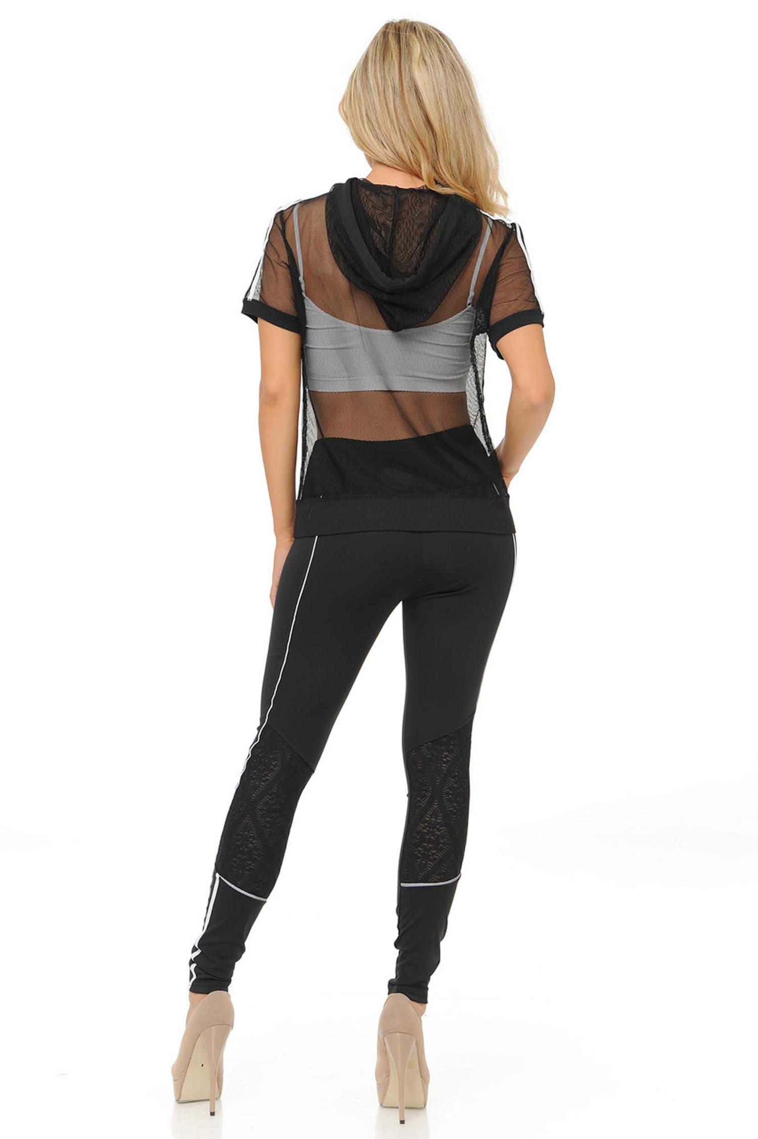 Premium Select Full Mesh Jacket with Slenderize Workout Leggings Set - Black
