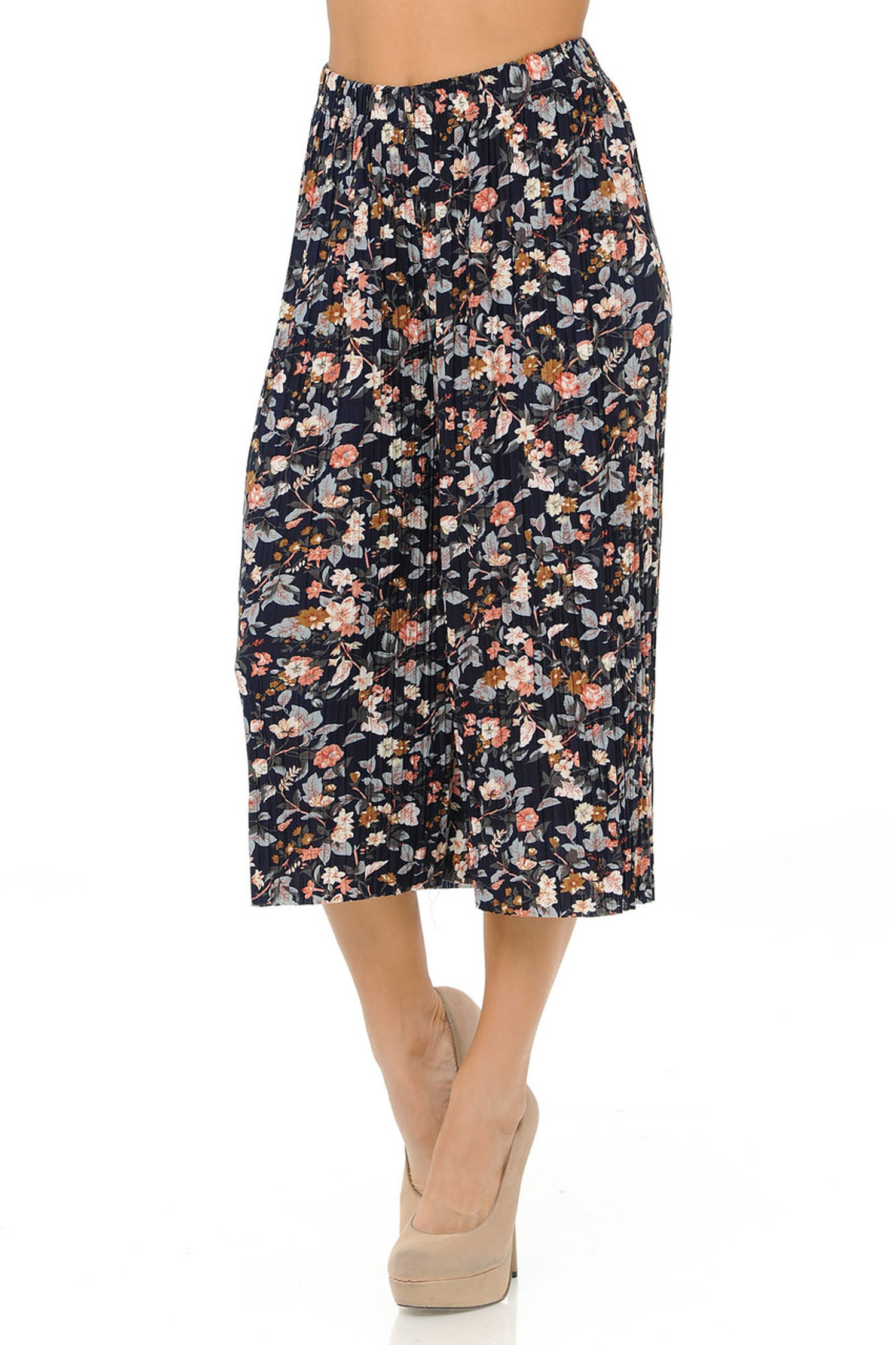 Fashion Casual Floral Niagara Pleated Gaucho Capris