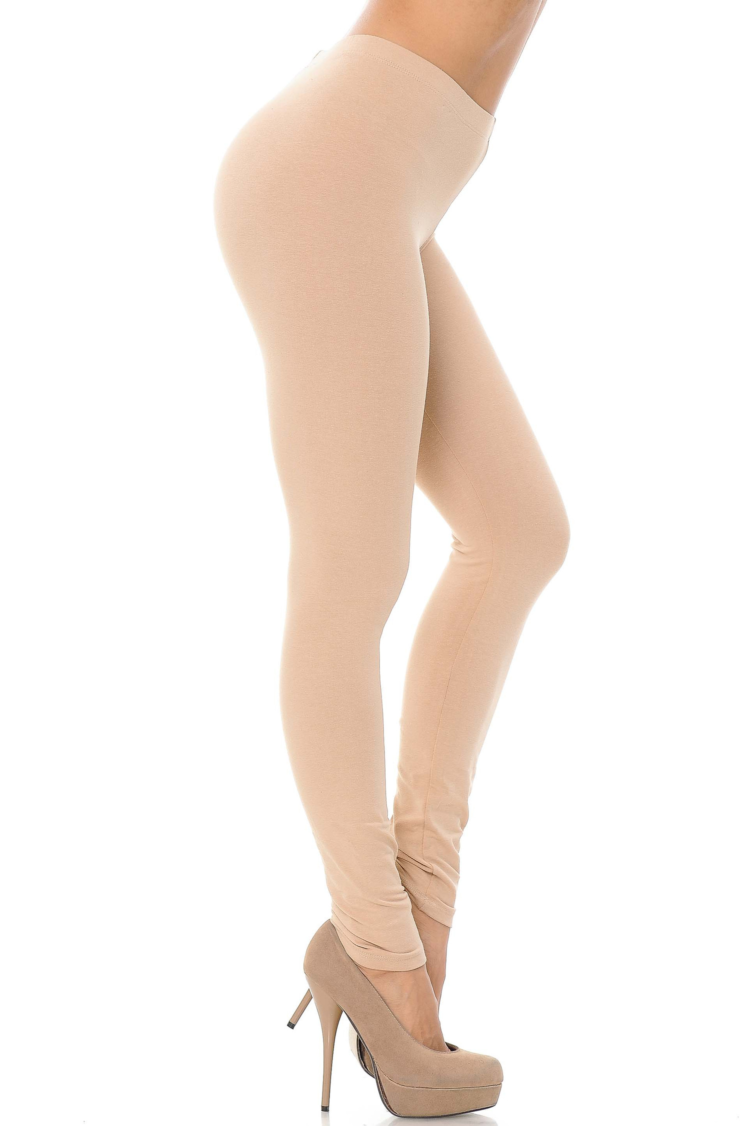 Right side view image of a beige pair of ankle length made in the USA cotton leggings.