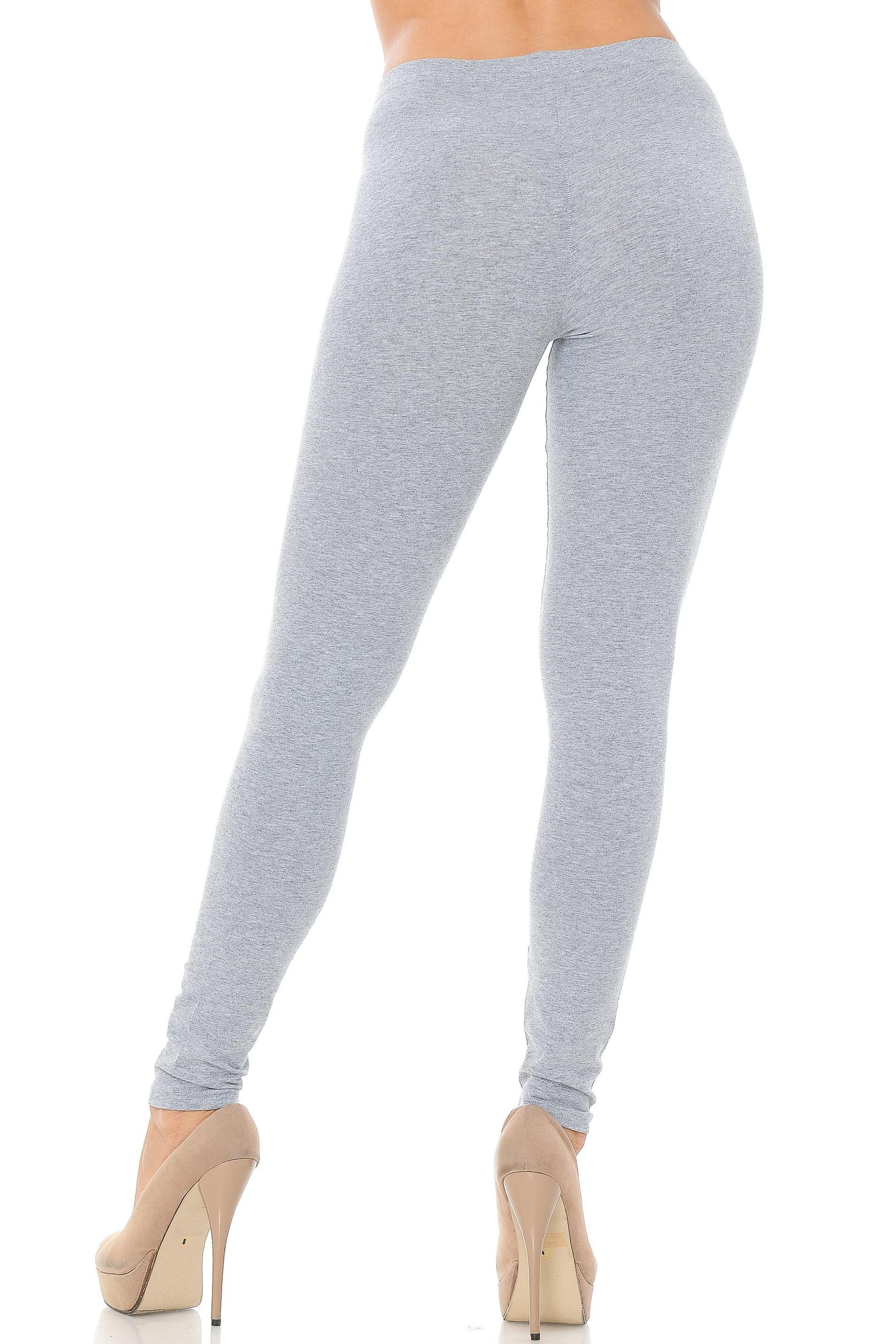 Rear view image of heather gray made in the USA cotton leggings showcasing a body hugging fit.
