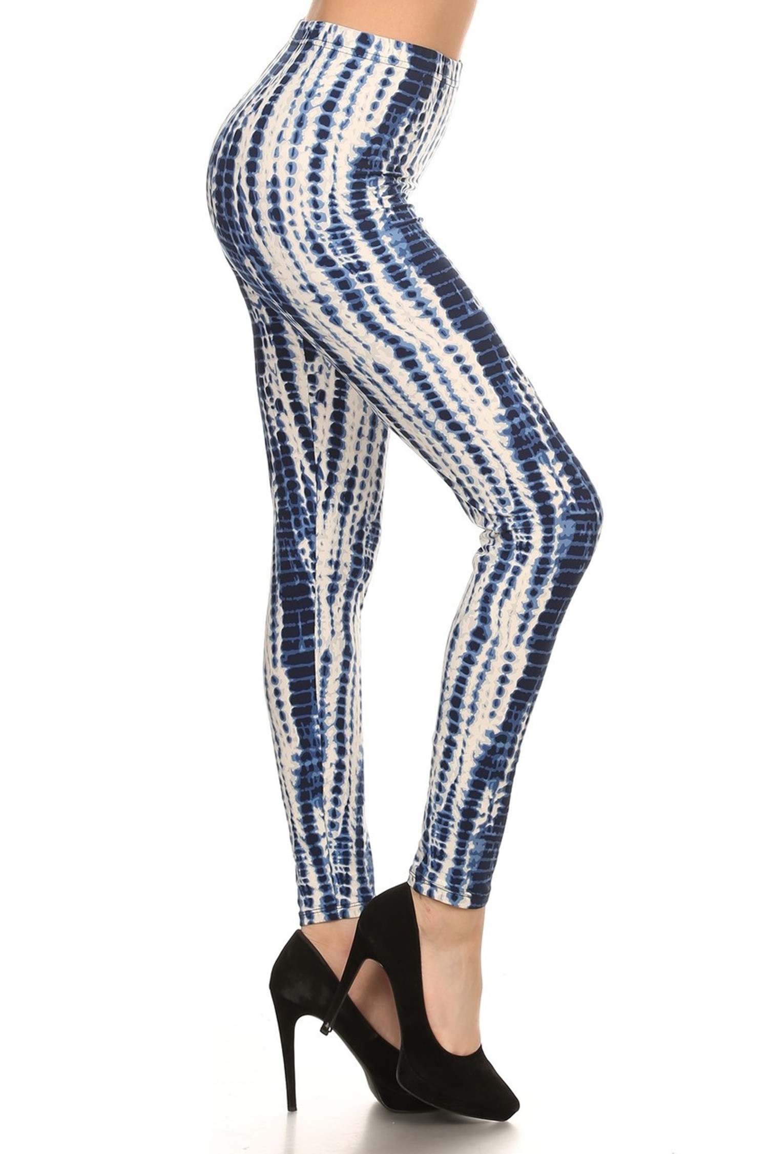 Brushed Vertical Blue Tie Dye Leggings