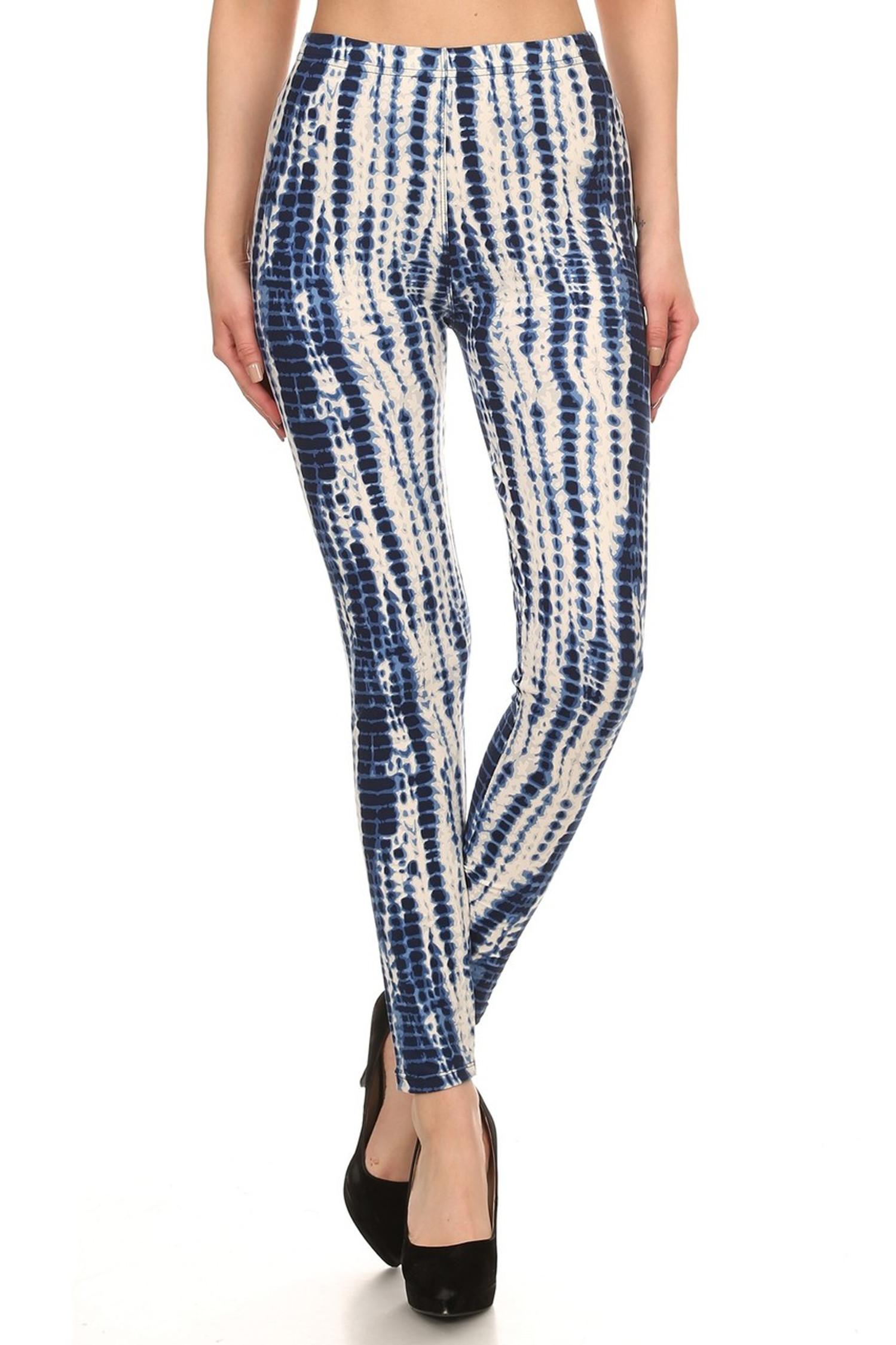 Brushed Vertical Blue Tie Dye Leggings