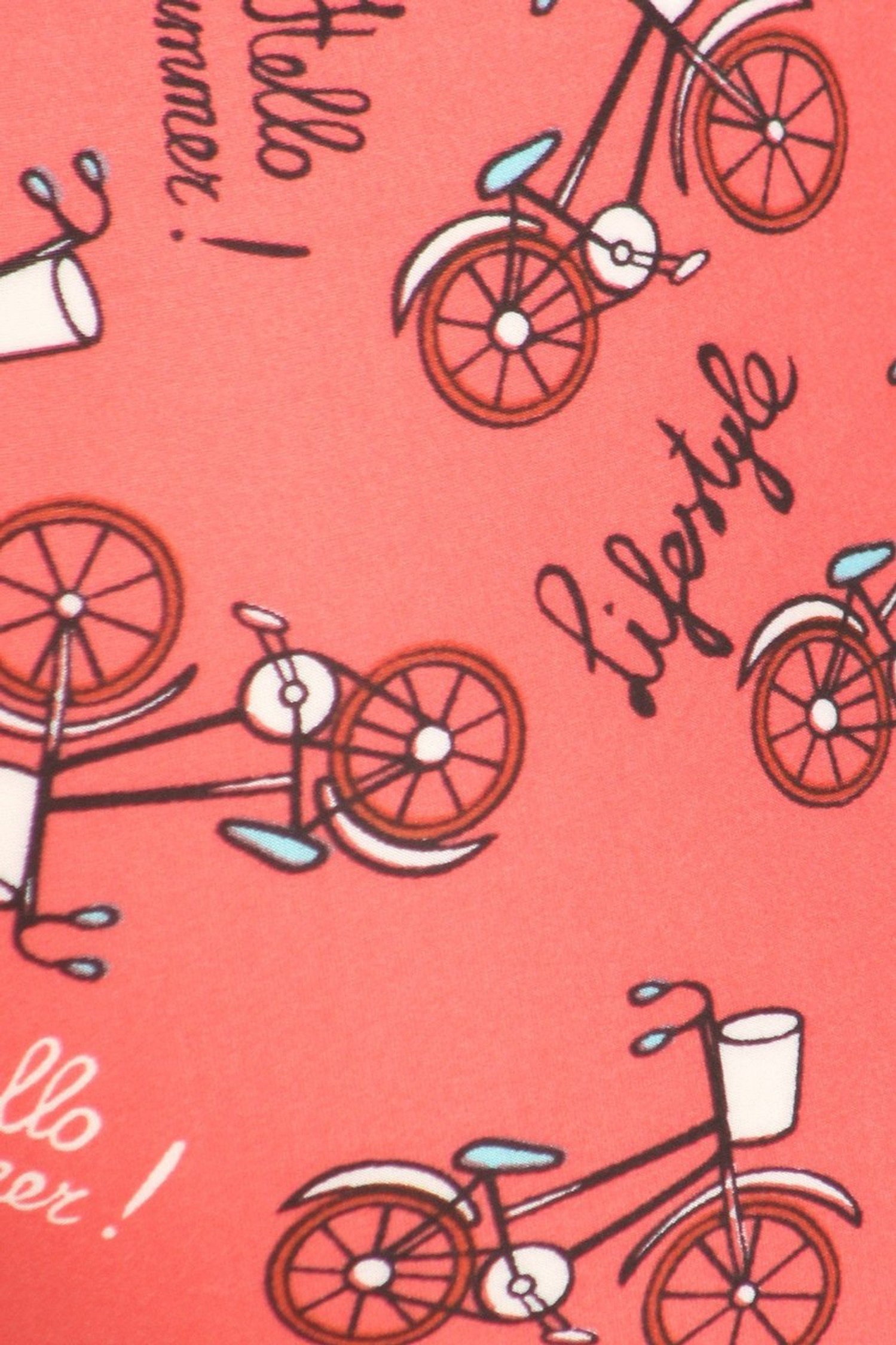 Buttery Red Summertime Bicycles Plus Size Leggings - 3X-5X